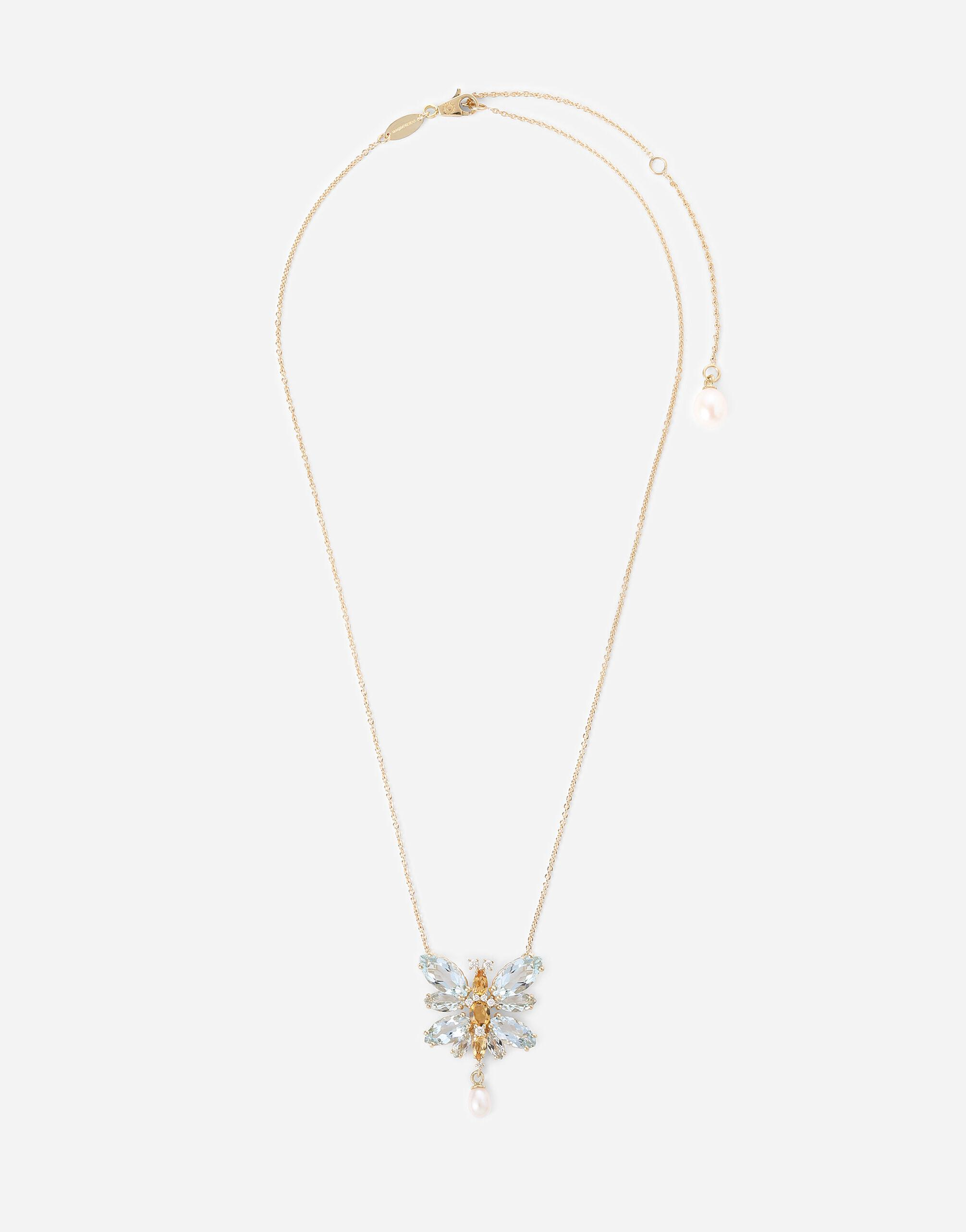 Spring necklace in yellow 18kt gold with aquamarine butterfly
