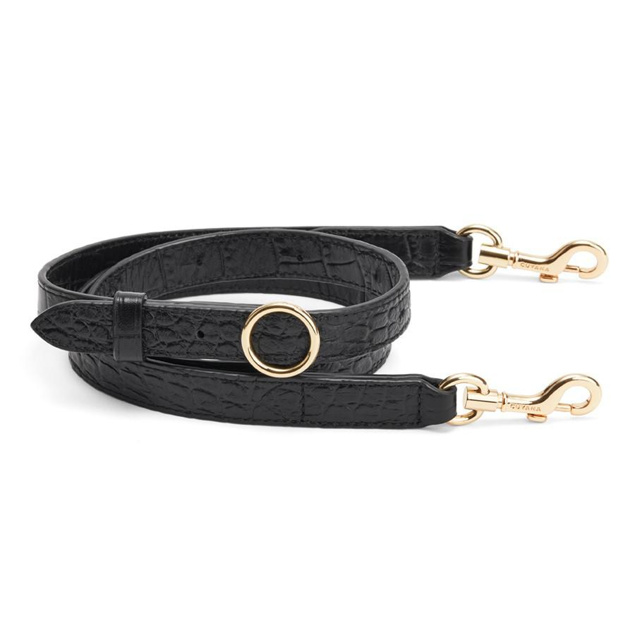 Women's Adjustable Strap in Textured Black | Croc-Embossed by Cuyana