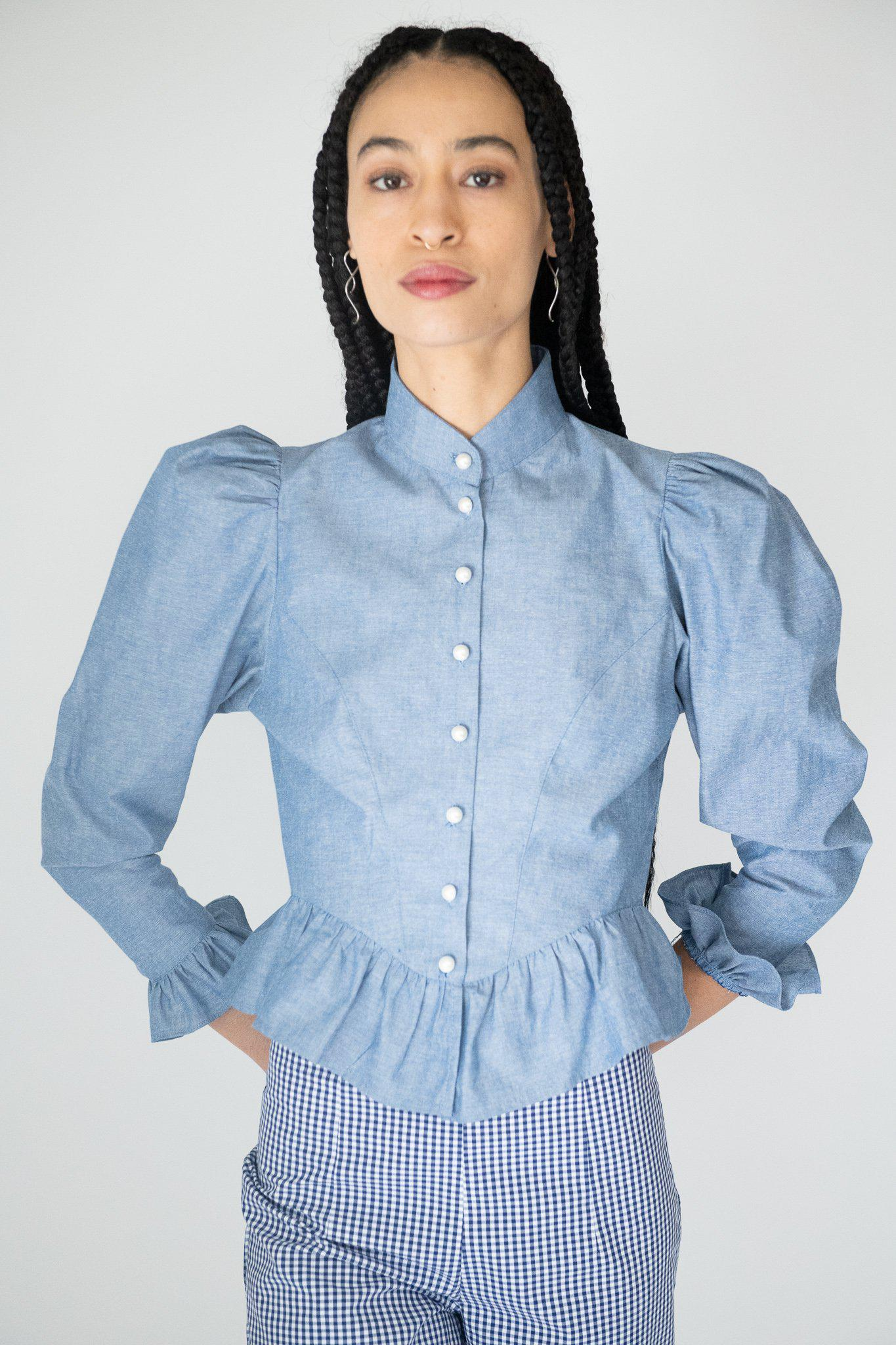 Grace Blouse in Chambray