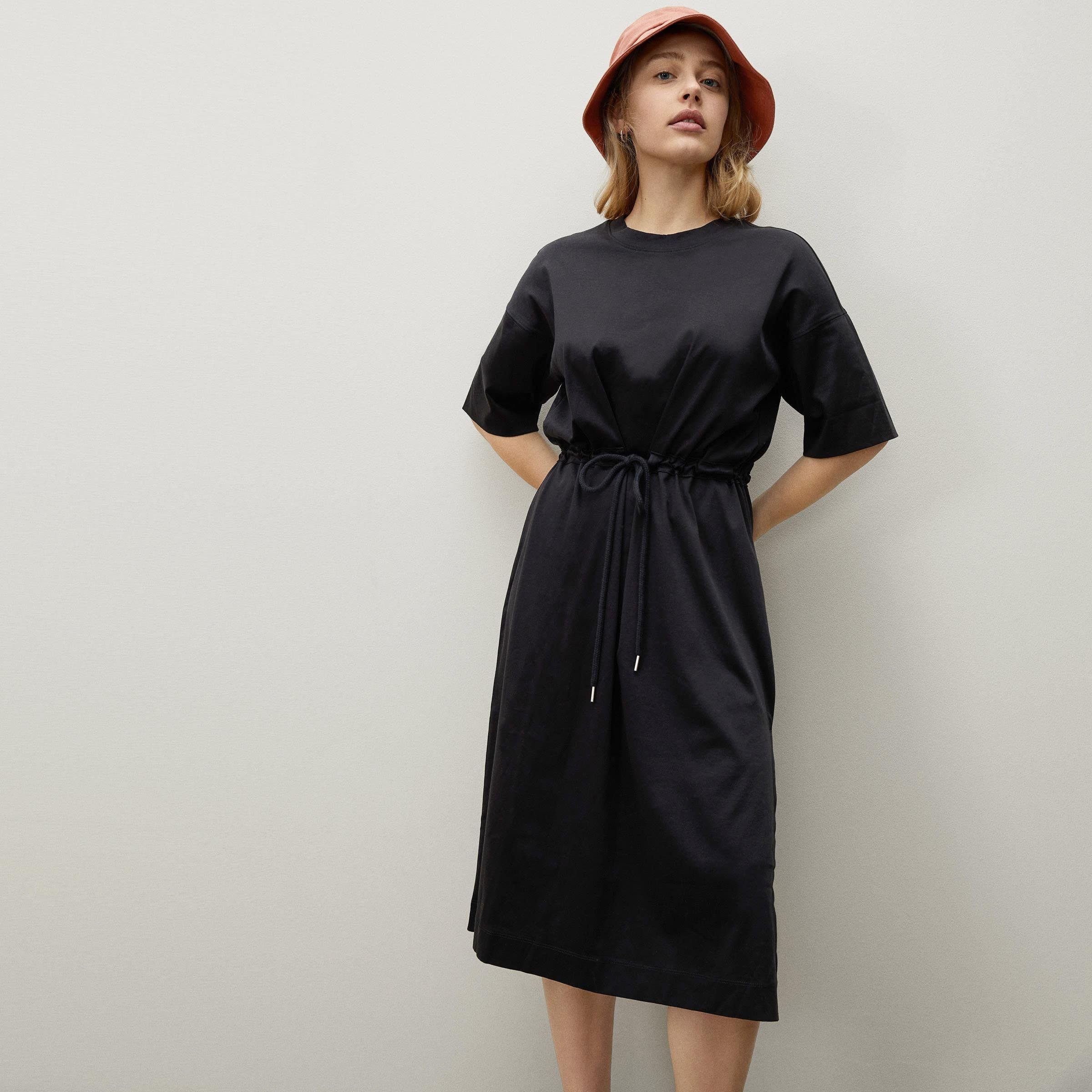 The Luxe Cotton Tie-Front Tee Dress