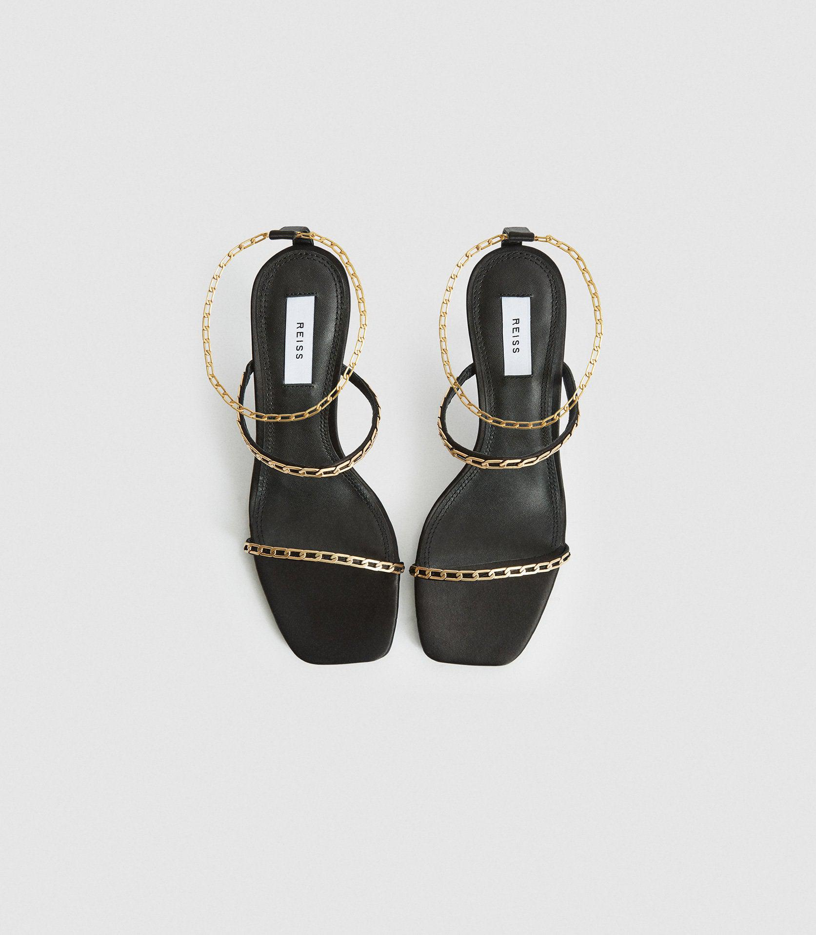 MAGDA CHAIN - SATIN STRAPPY HEELED SANDALS 1