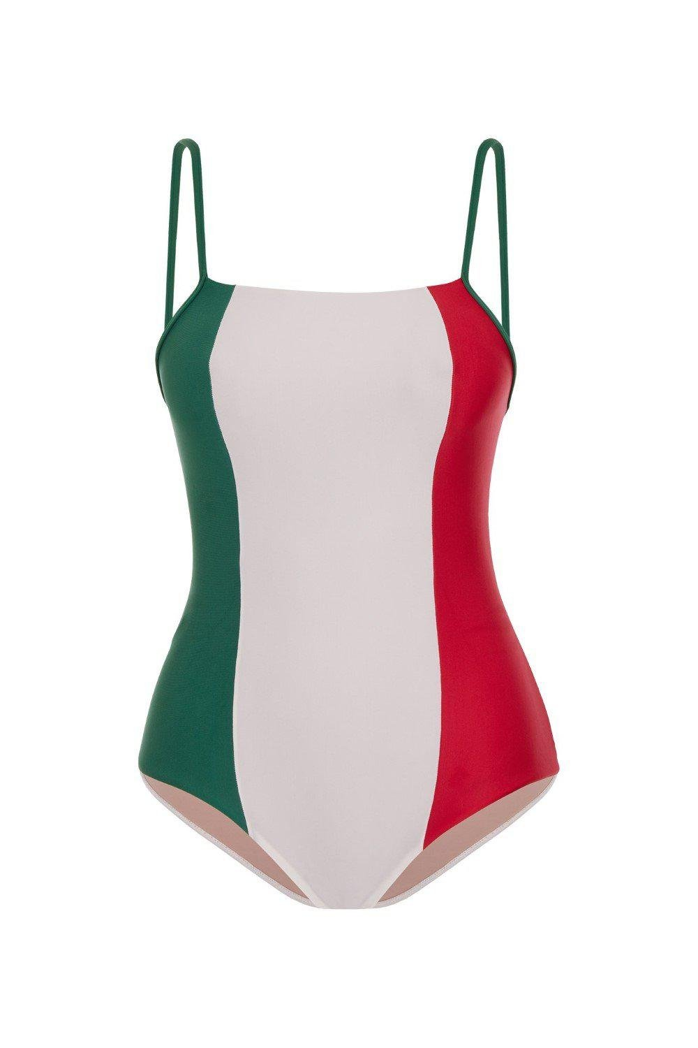 Italy Tricolor Swimsuit With Straps 3