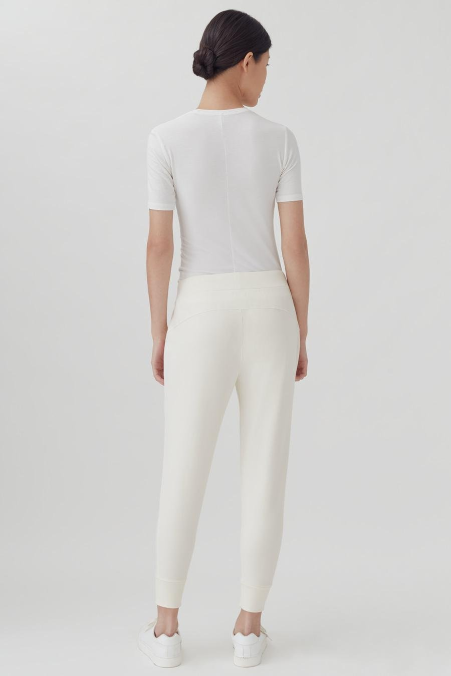 Women's French Terry Tapered Lounge Pant in Ecru   Size: 2
