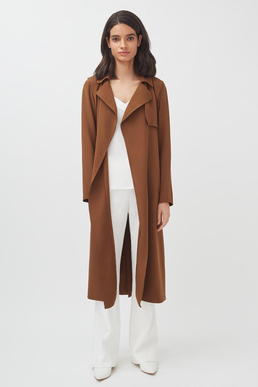 Women's Silk Classic Trench in Chestnut   Size: 3