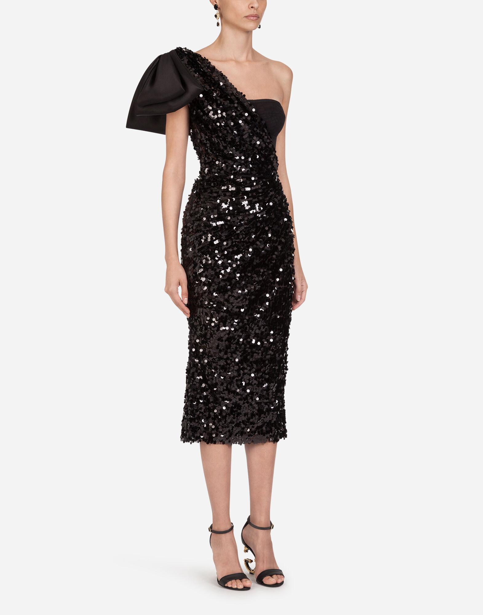 Sequined longuette dress with bow
