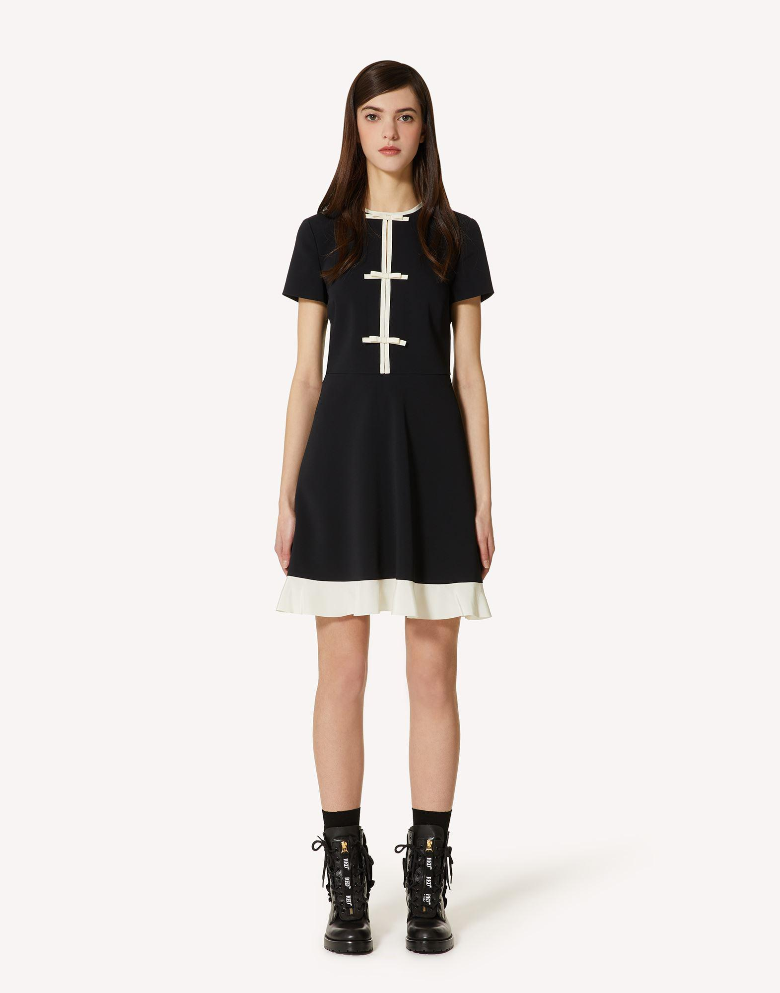 STRETCH FRISOTTINE DRESS WITH BOW DETAILS