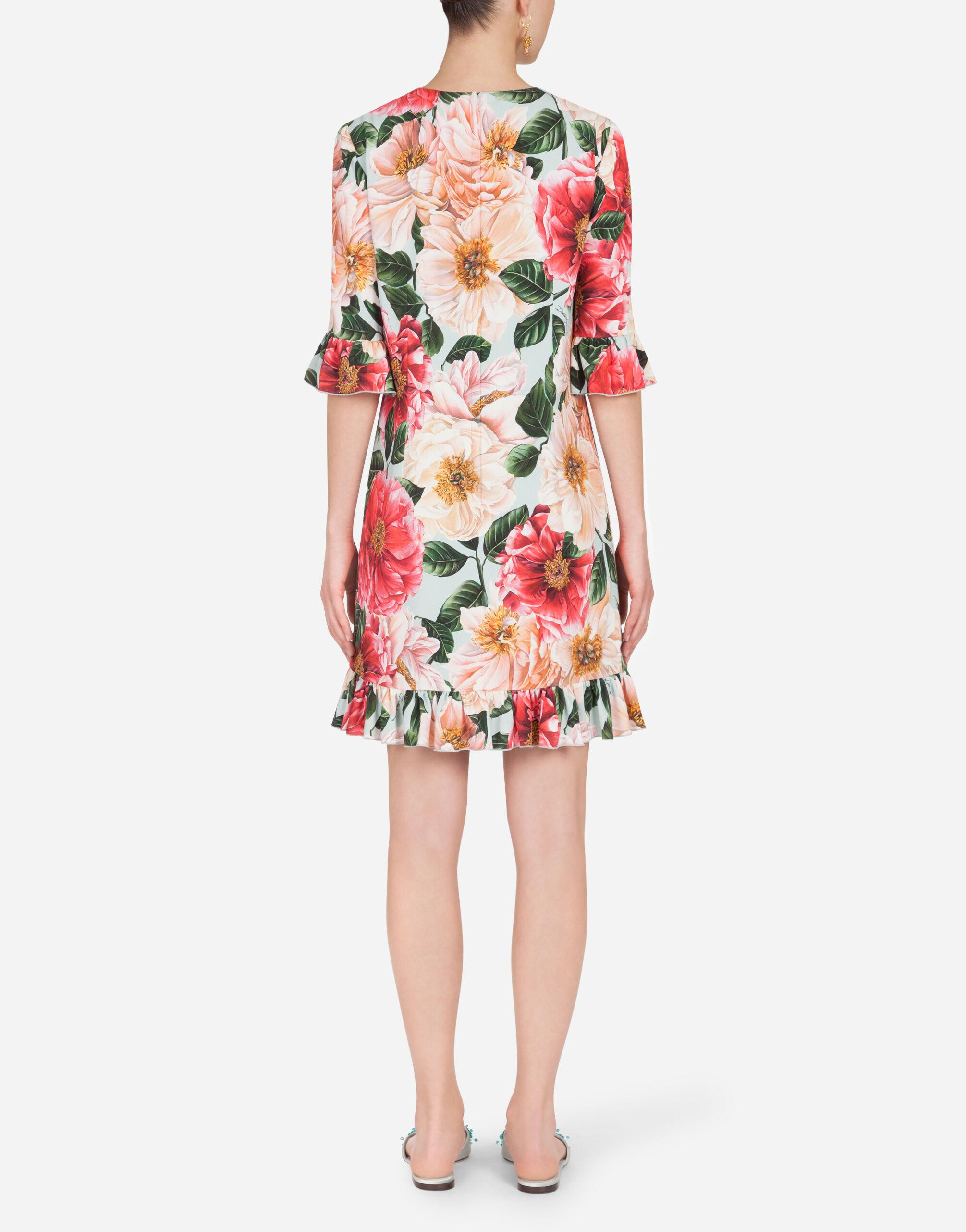 Short camellia-print cady dress with ruffle detailing 1