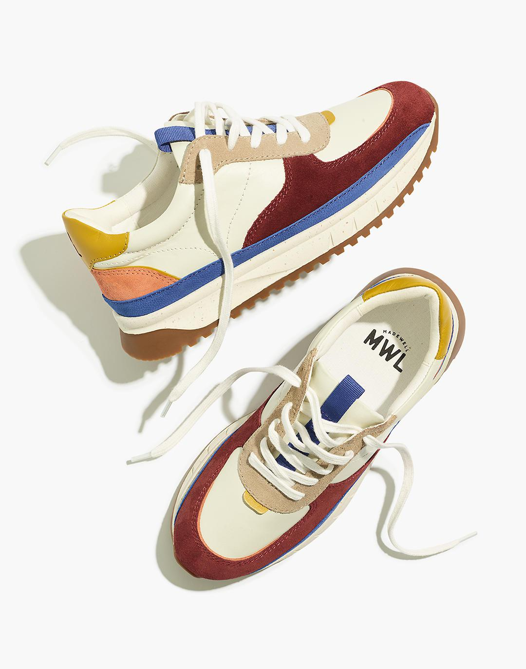 Kickoff Trainer Sneakers in Colorblock Leather and Suede