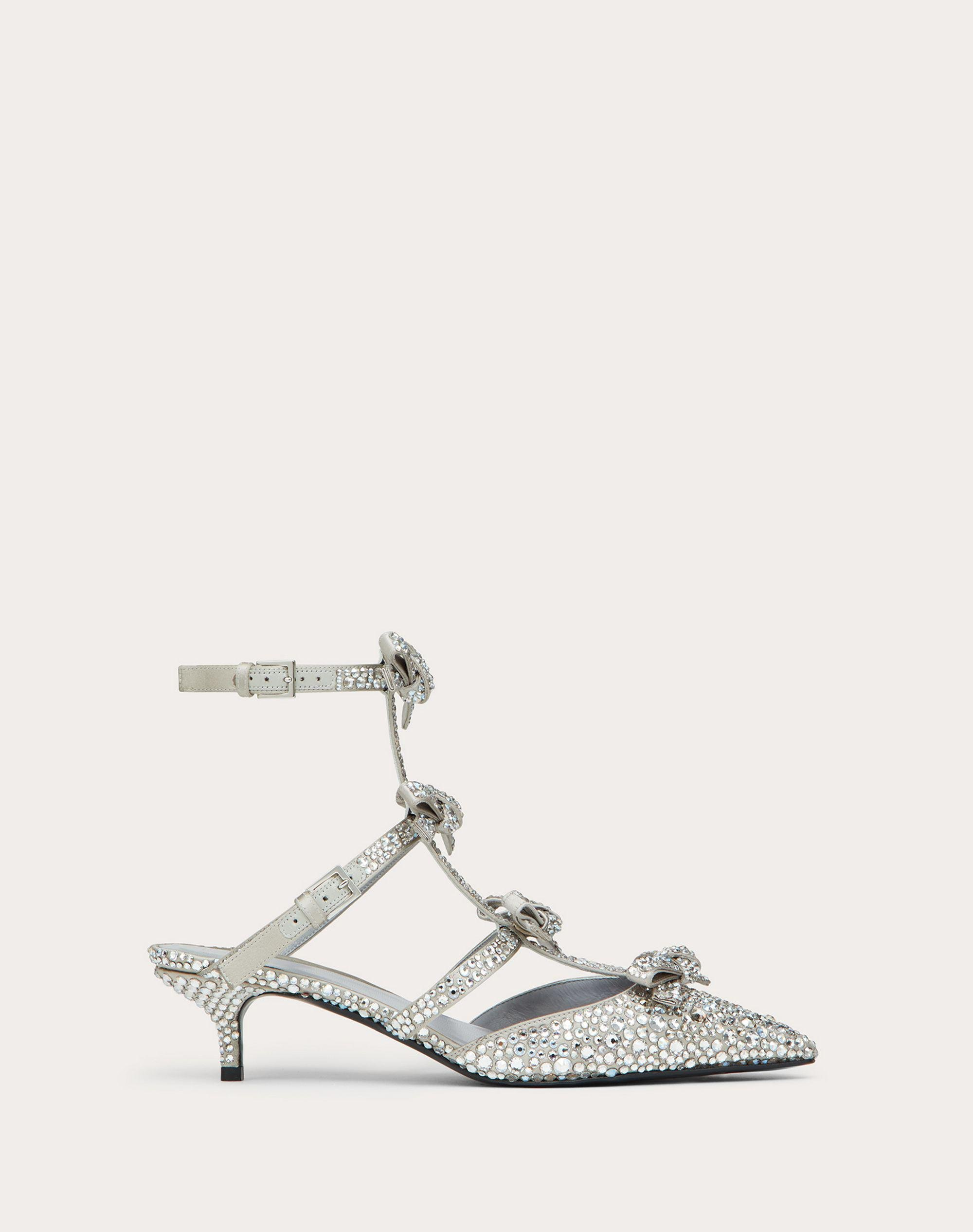 PUMP WITH FRENCH BOWS IN SATIN AND CRYSTALS   40 MM