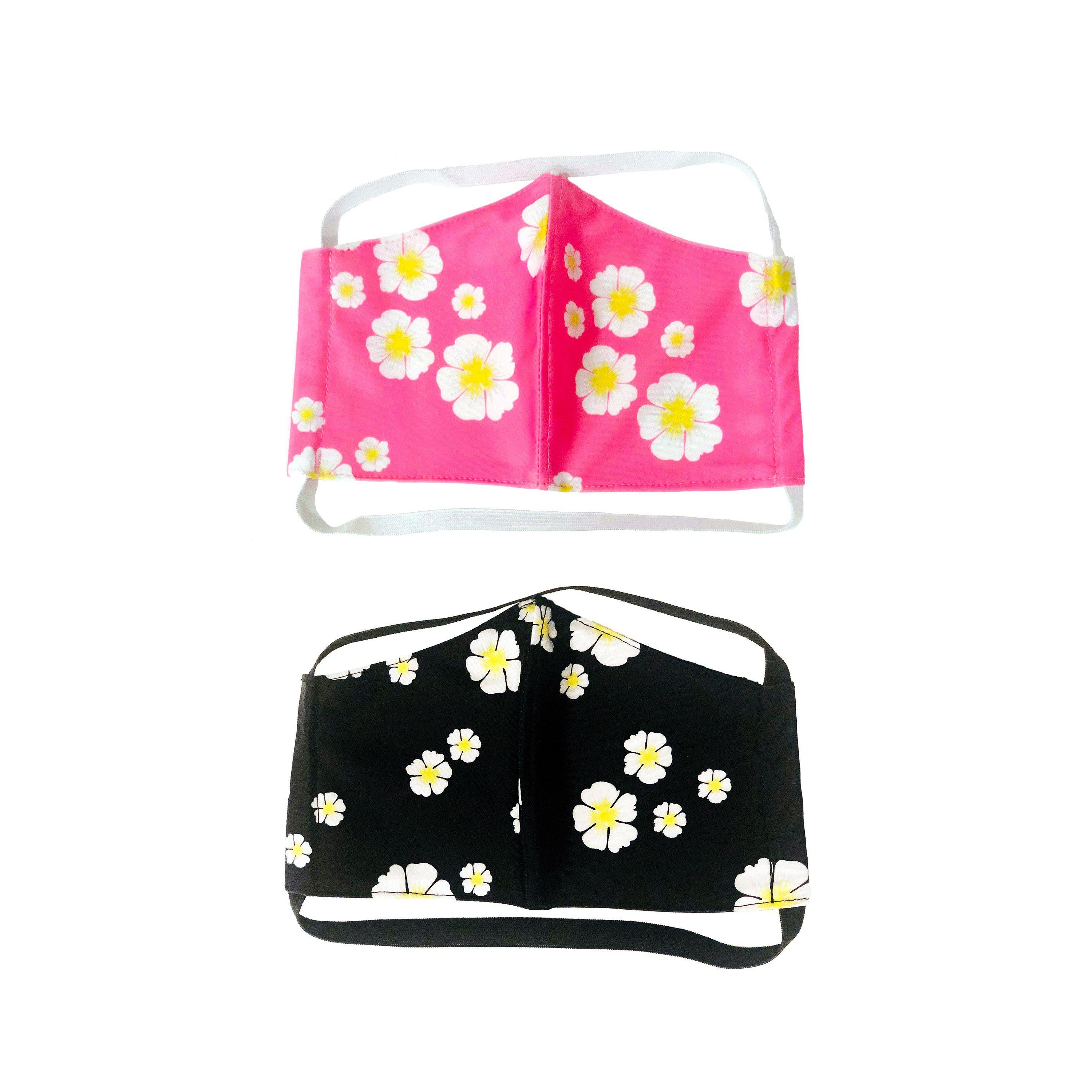 PACK OF TWO FLORAL FACE MASKS WITH FILTERS