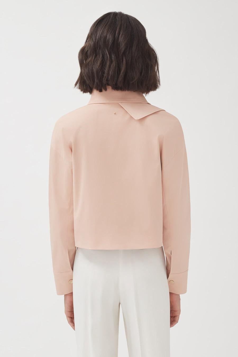 Women's Cropped Trench in Soft Rose | Size: S/M | Cotton Elastane Blend by Cuyana 3