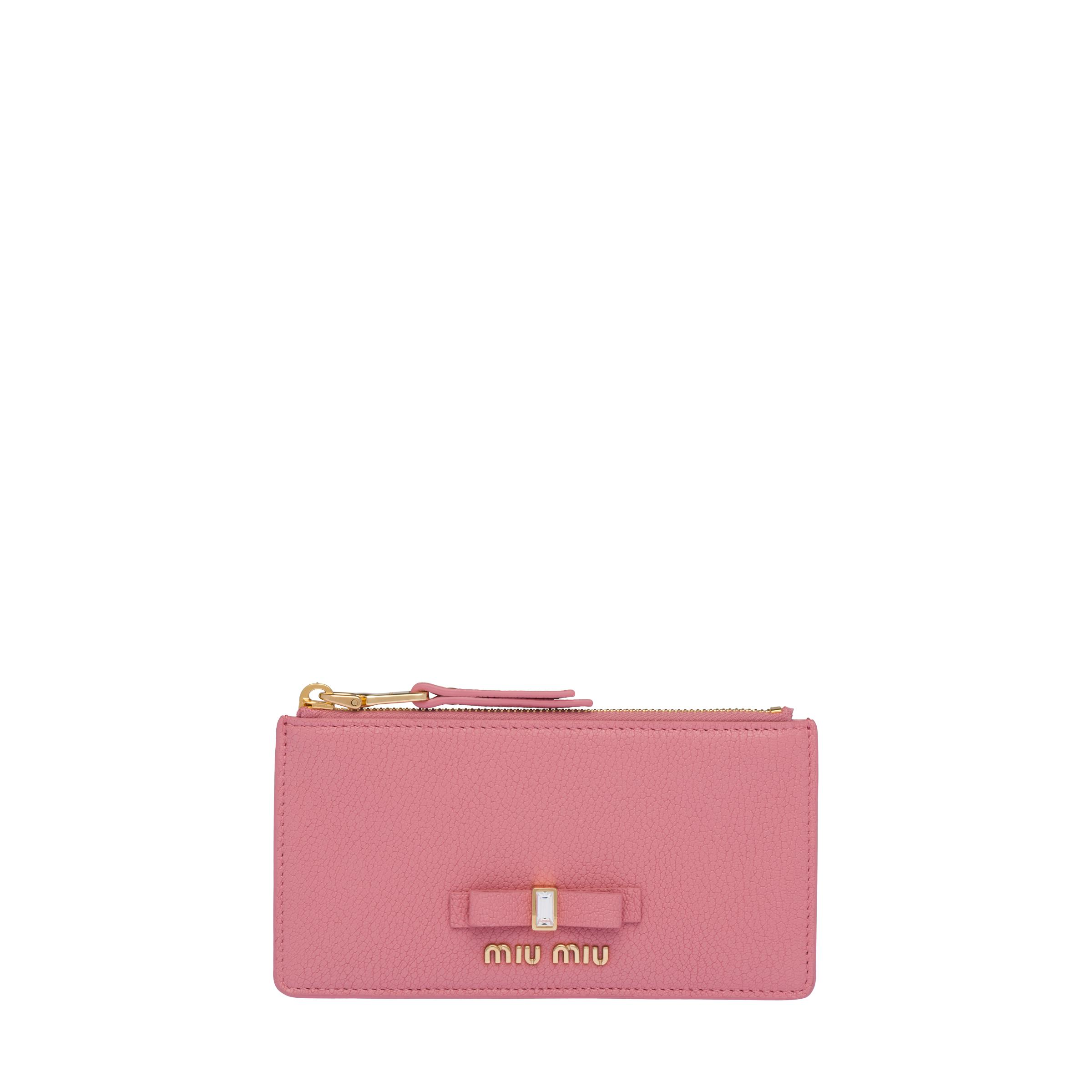Madras Leather Coin Purse Women Pink