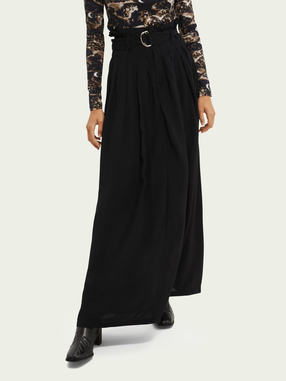 Pleated belted maxi-length skirt