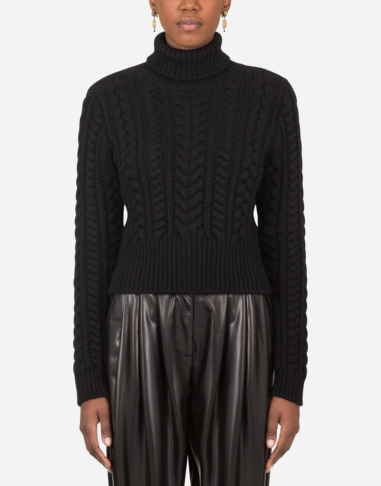 Cable-knit cashmere turtle-neck sweater