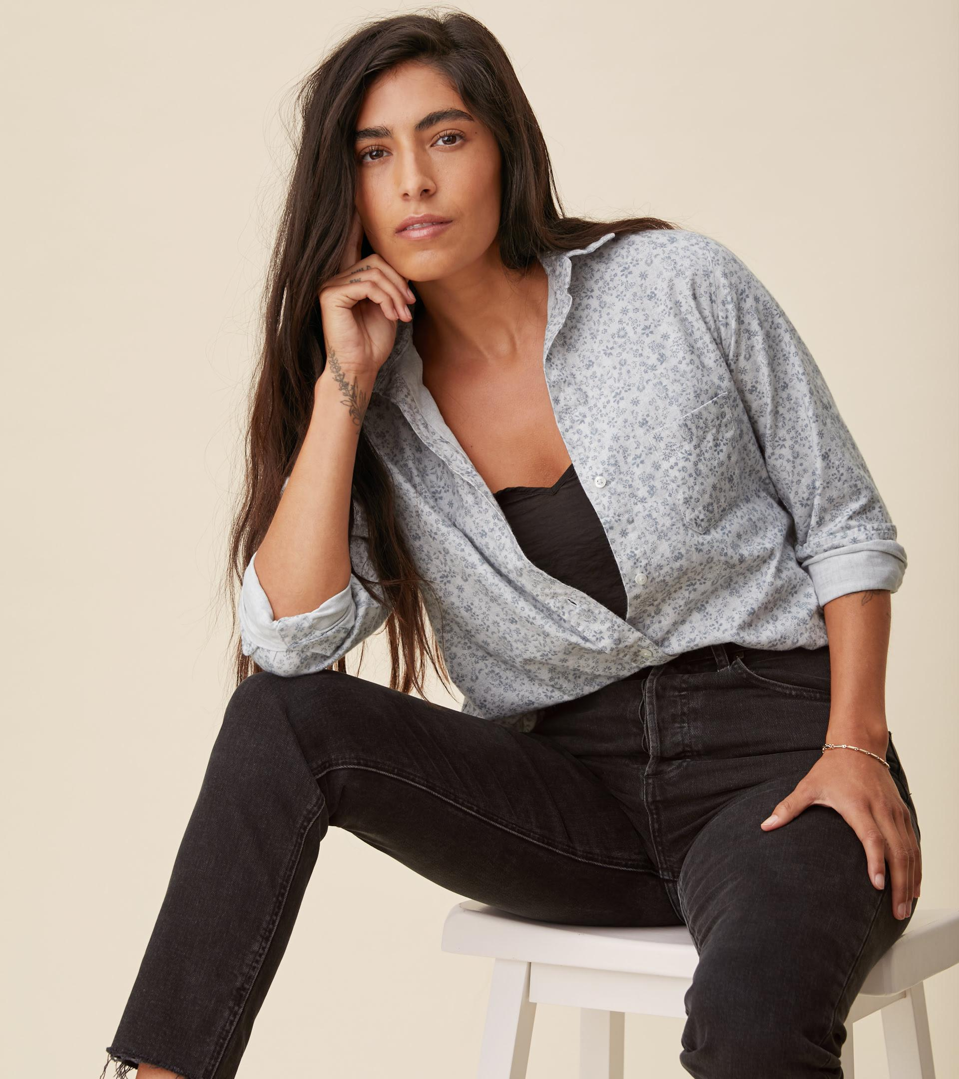 The Hero Button-Up Shirt Gray Flowers, Feathered Flannel