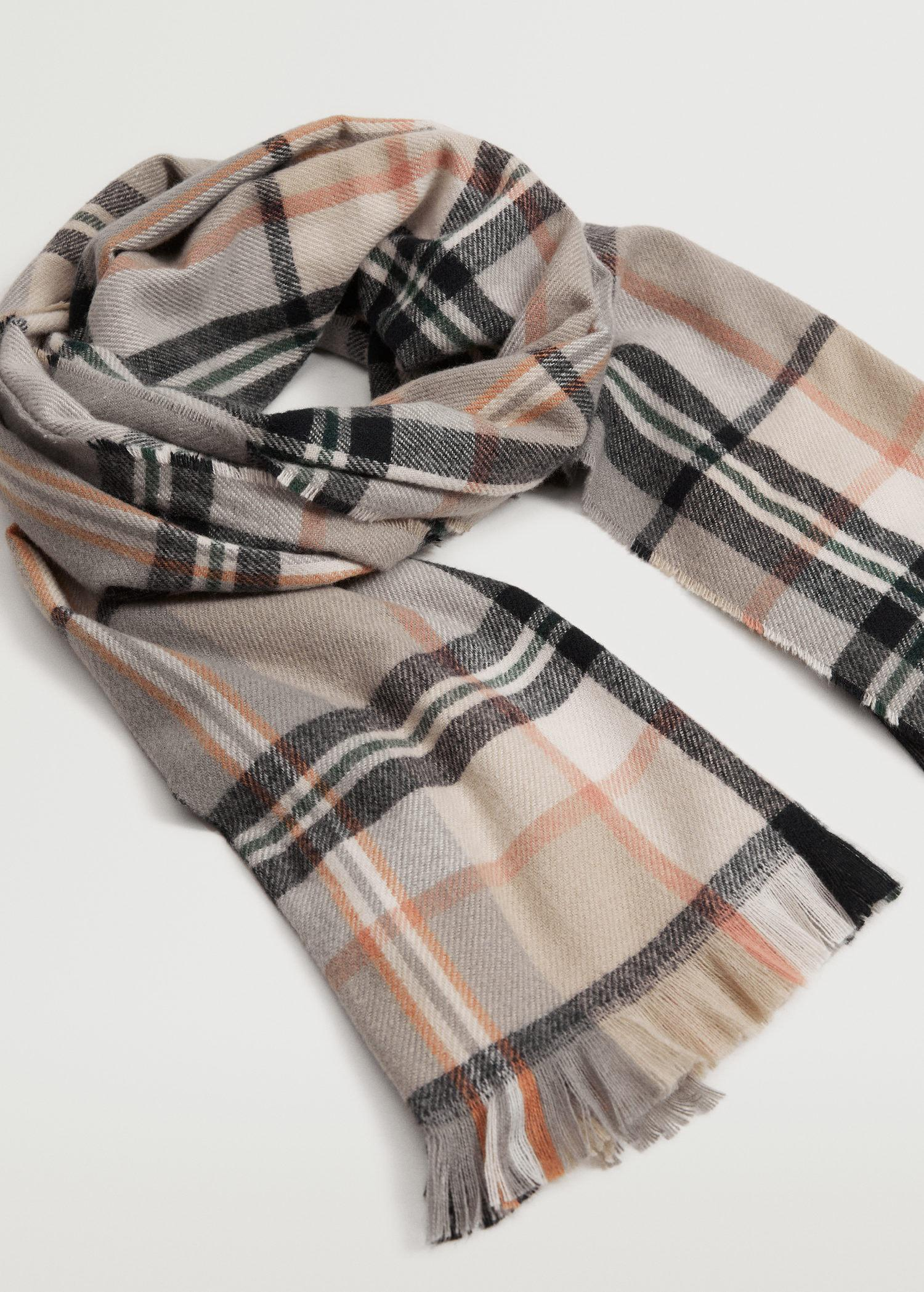 Fringed check scarf