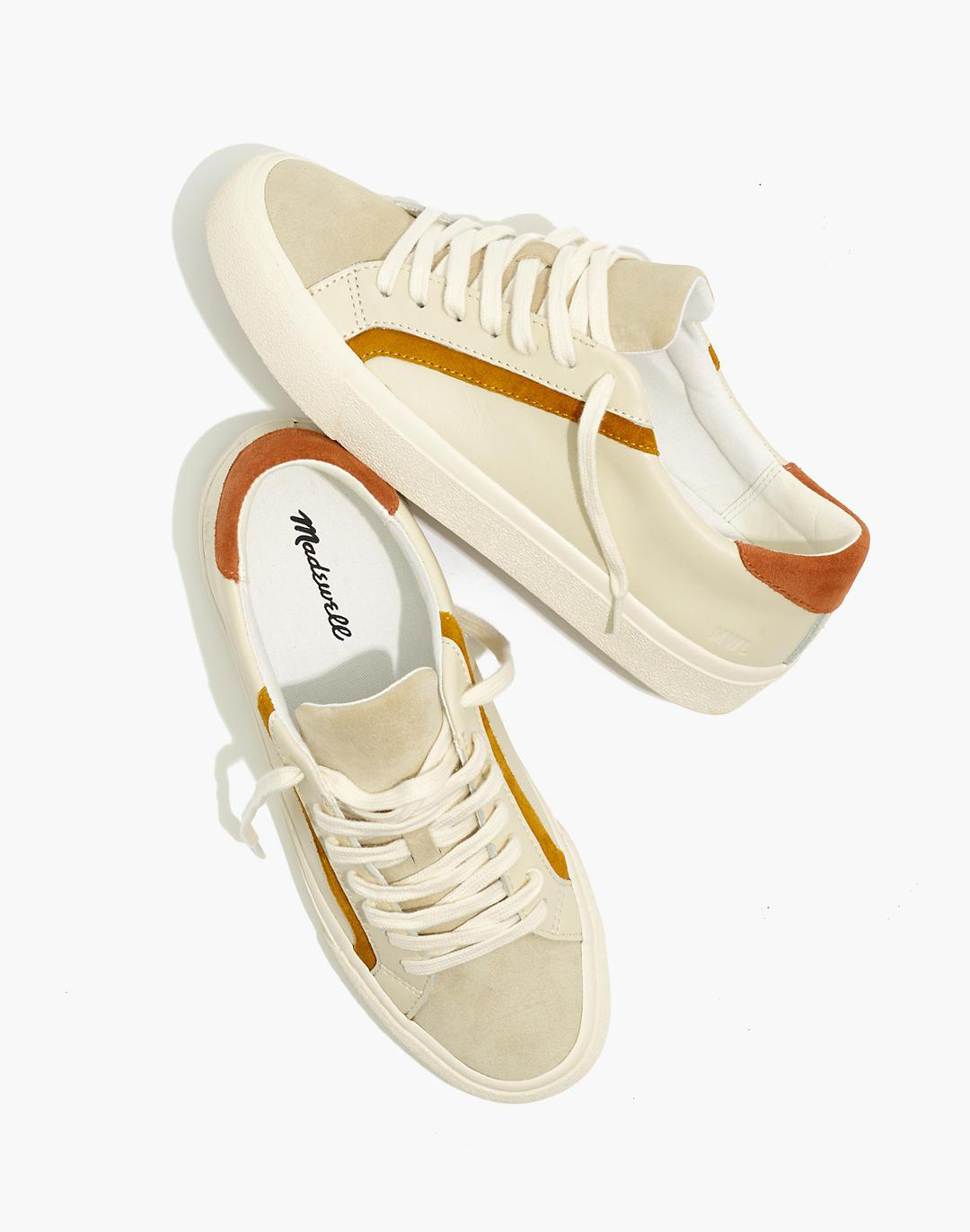 Sidewalk Low-Top Sneakers in Colorblock Leather and Suede