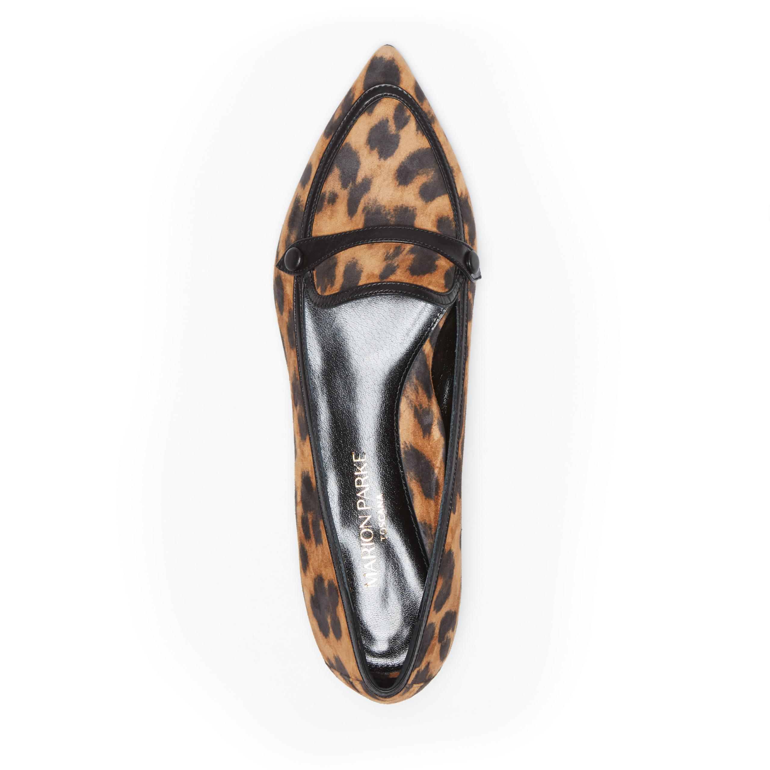 Natalie | Leopard Print Suede Pointy Toe Flat Loafer 2