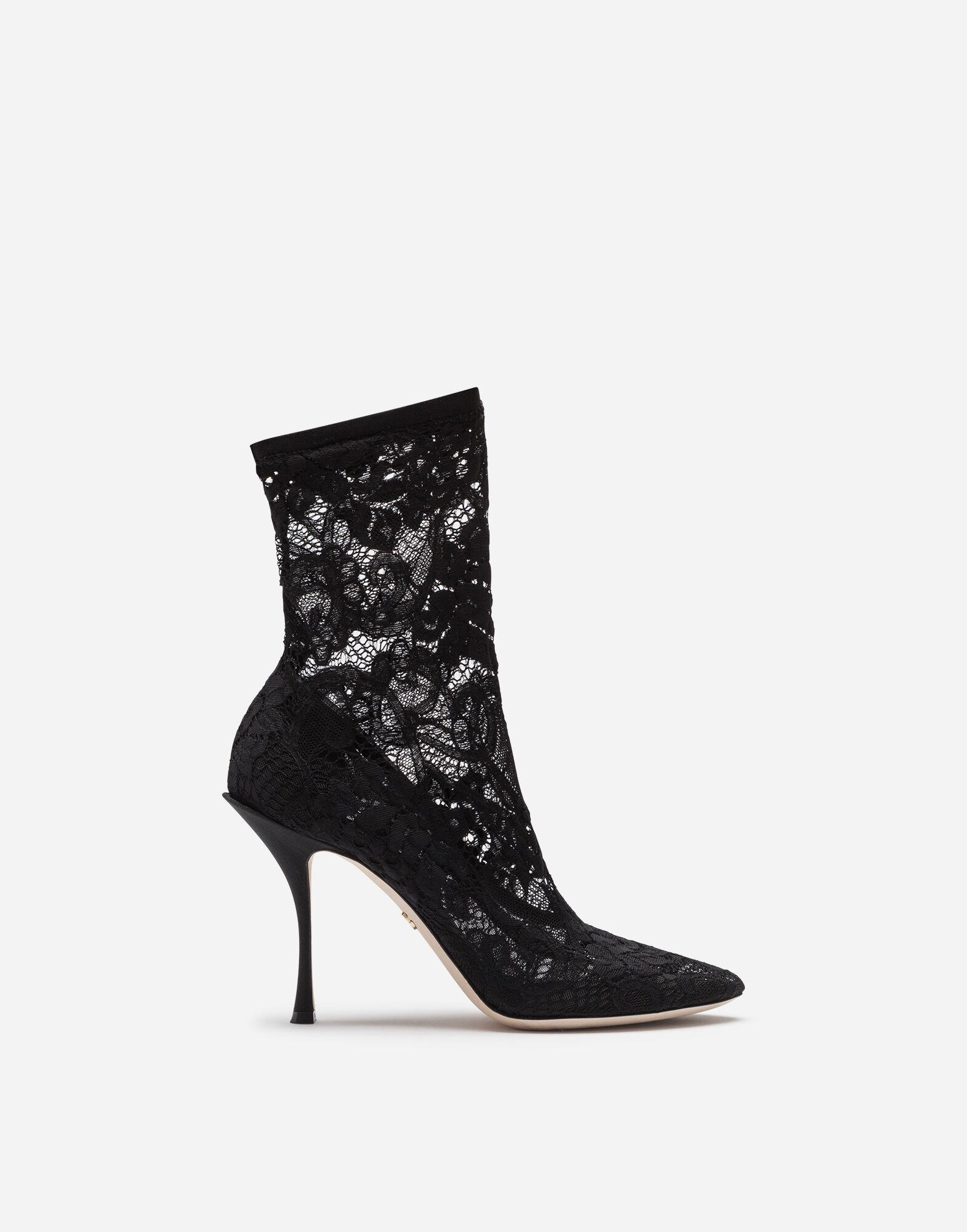 Ankle boots in stretch lace and grosgrain