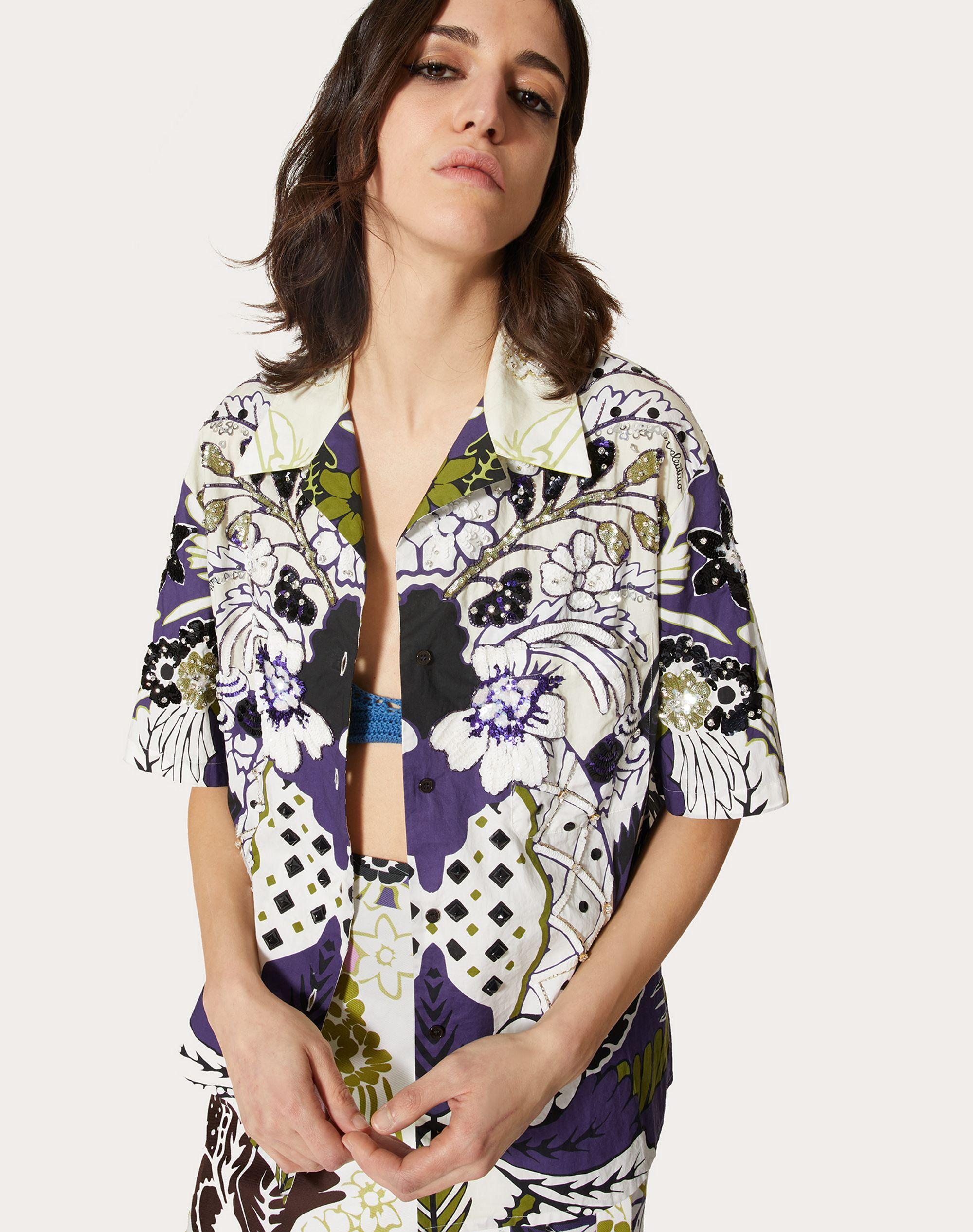PRINTED AND EMBROIDERED POPLIN BOWLING SHIRT 3