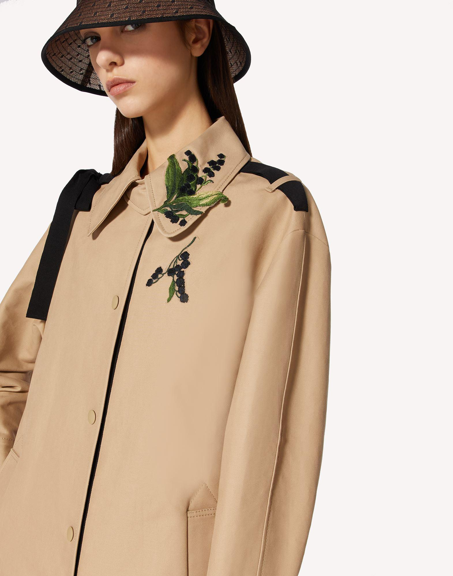 MAY LILY EMBROIDERED TRENCH COAT WITH BOW DETAIL 3