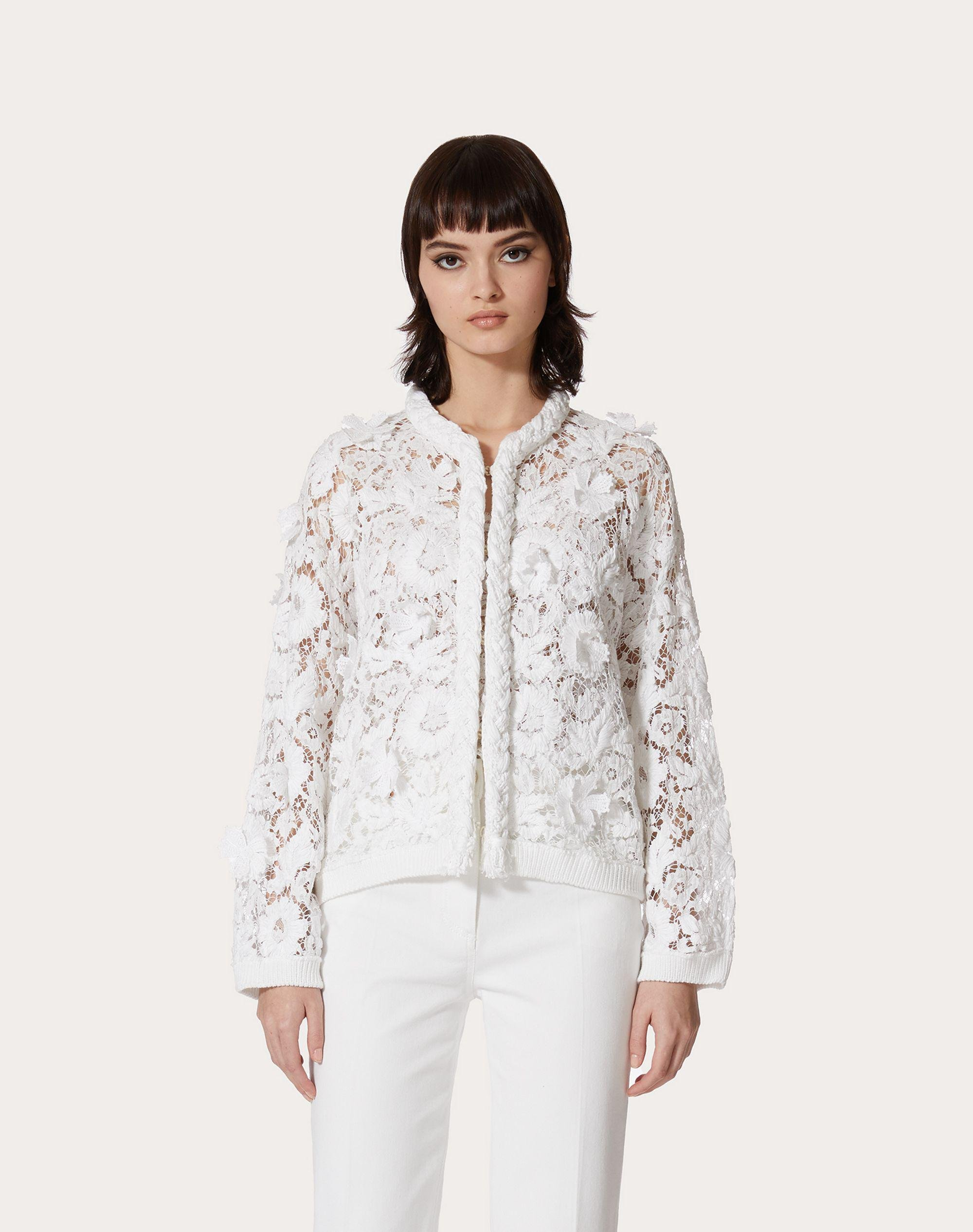 CARDIGAN IN COTTON AND EMBROIDERED LACE 1