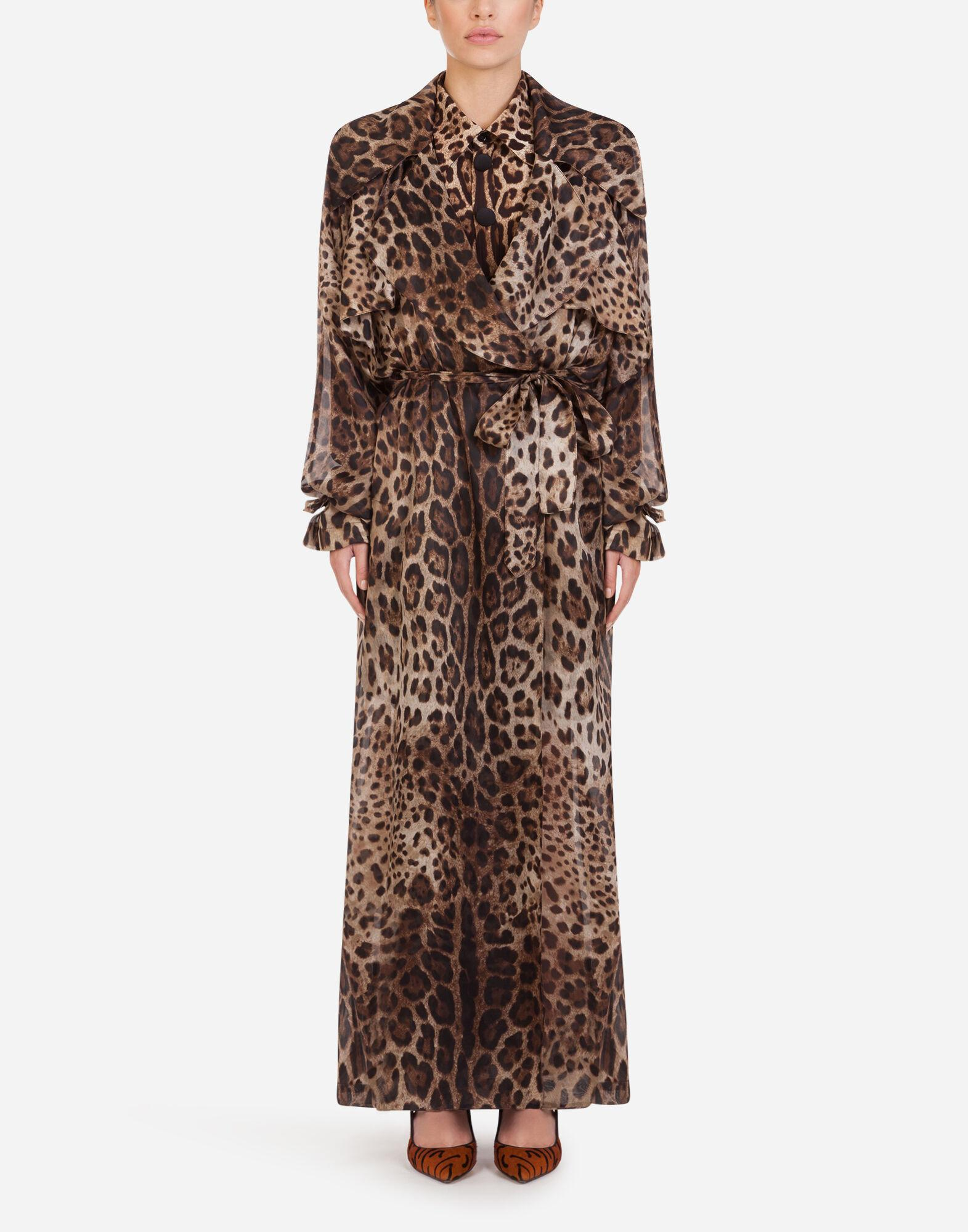 Organza trench coat with leopard print