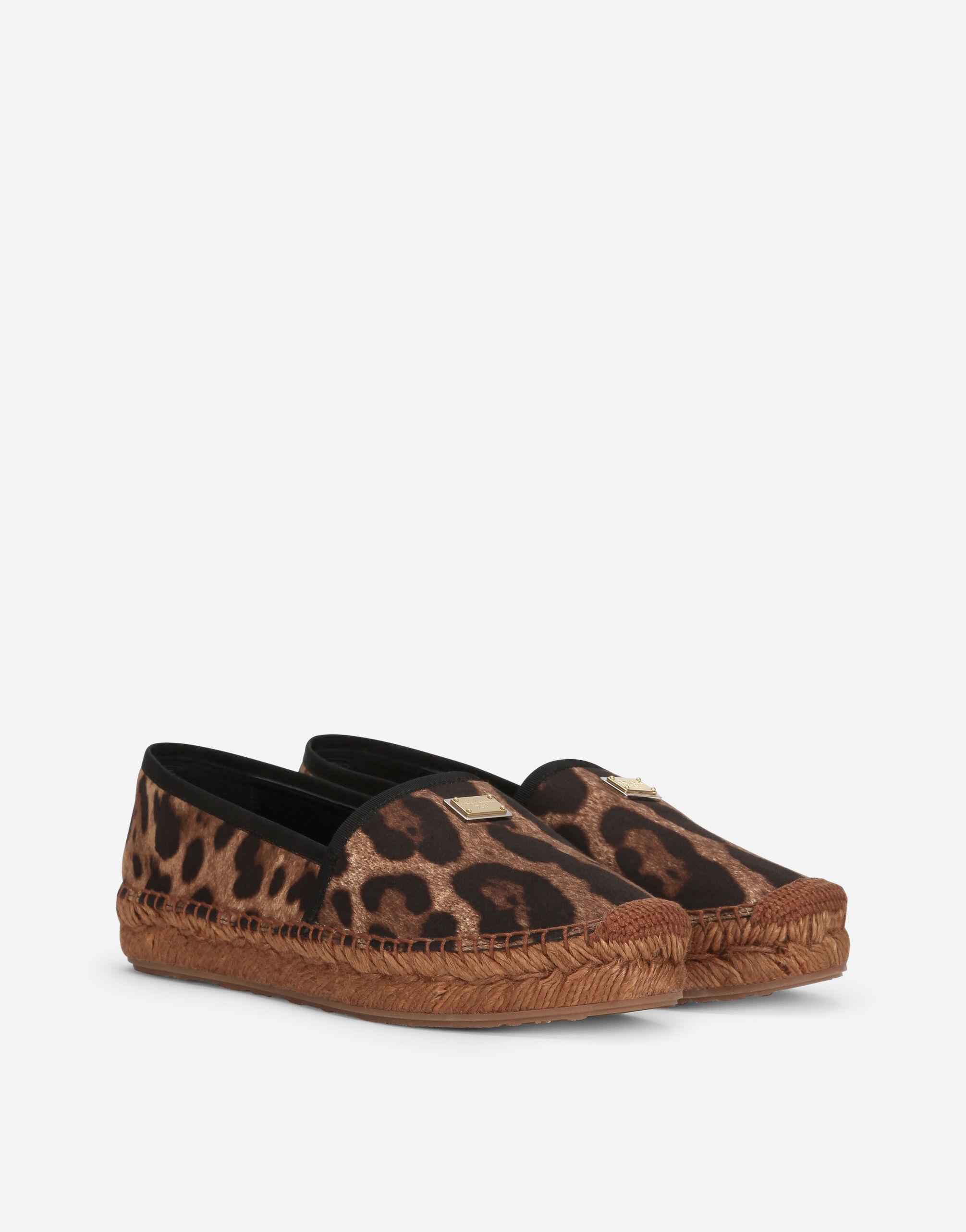 Leopard-print cotton espadrilles with branded plate 1