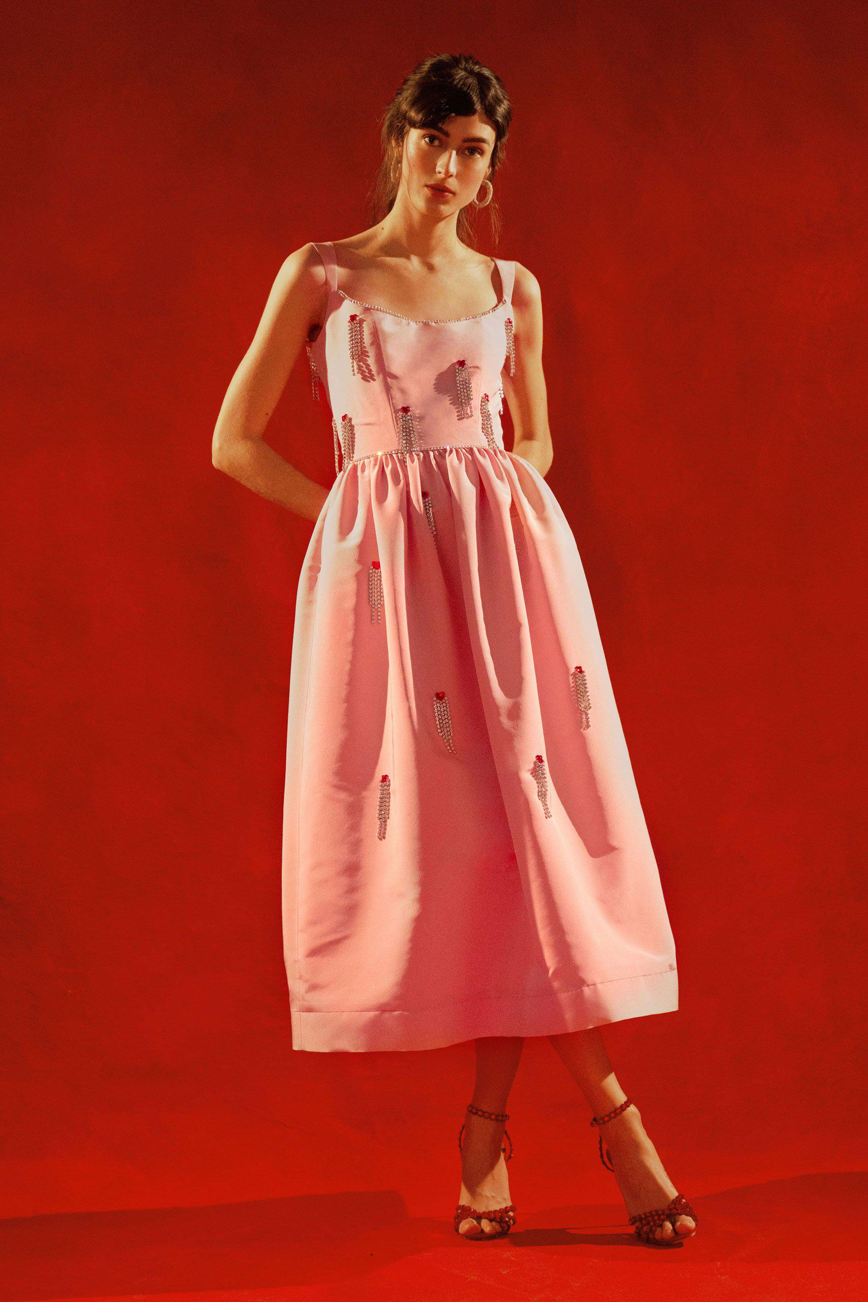 Le Coeur Shirred Pink Silk Faille Corset Dress with Crystal Embellishment