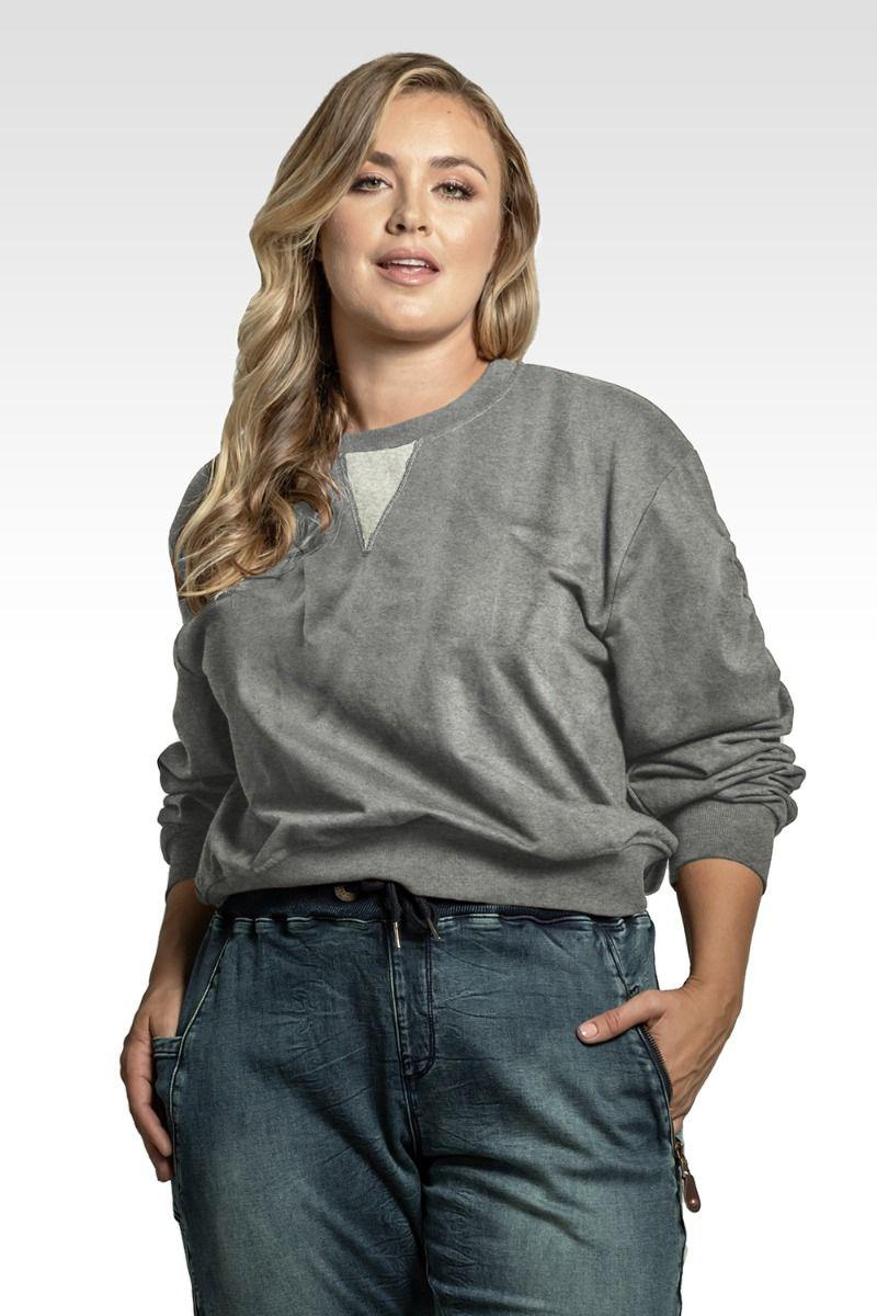 Arie Women's Plus Size Long Sleeve Ruched Pullover Sweatshirt