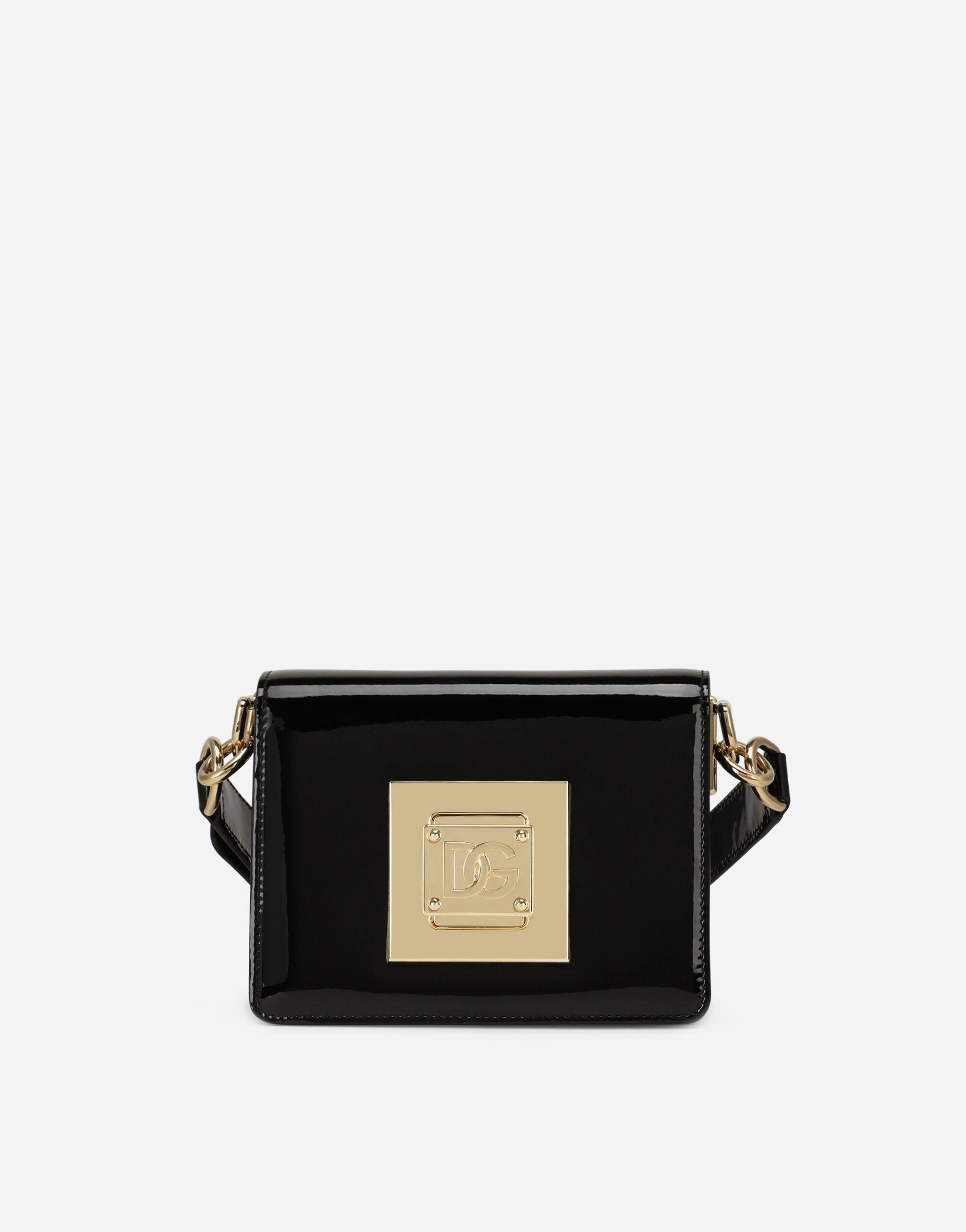 Small patent leather shoulder bag with DG fastening