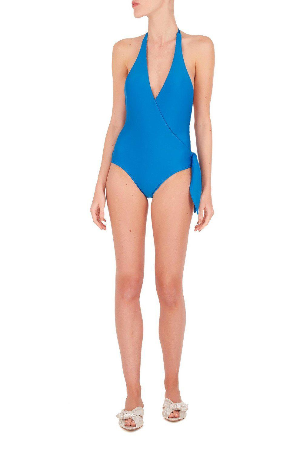 Conchiglie Cross-Front Halterneck Swimsuit with Knot
