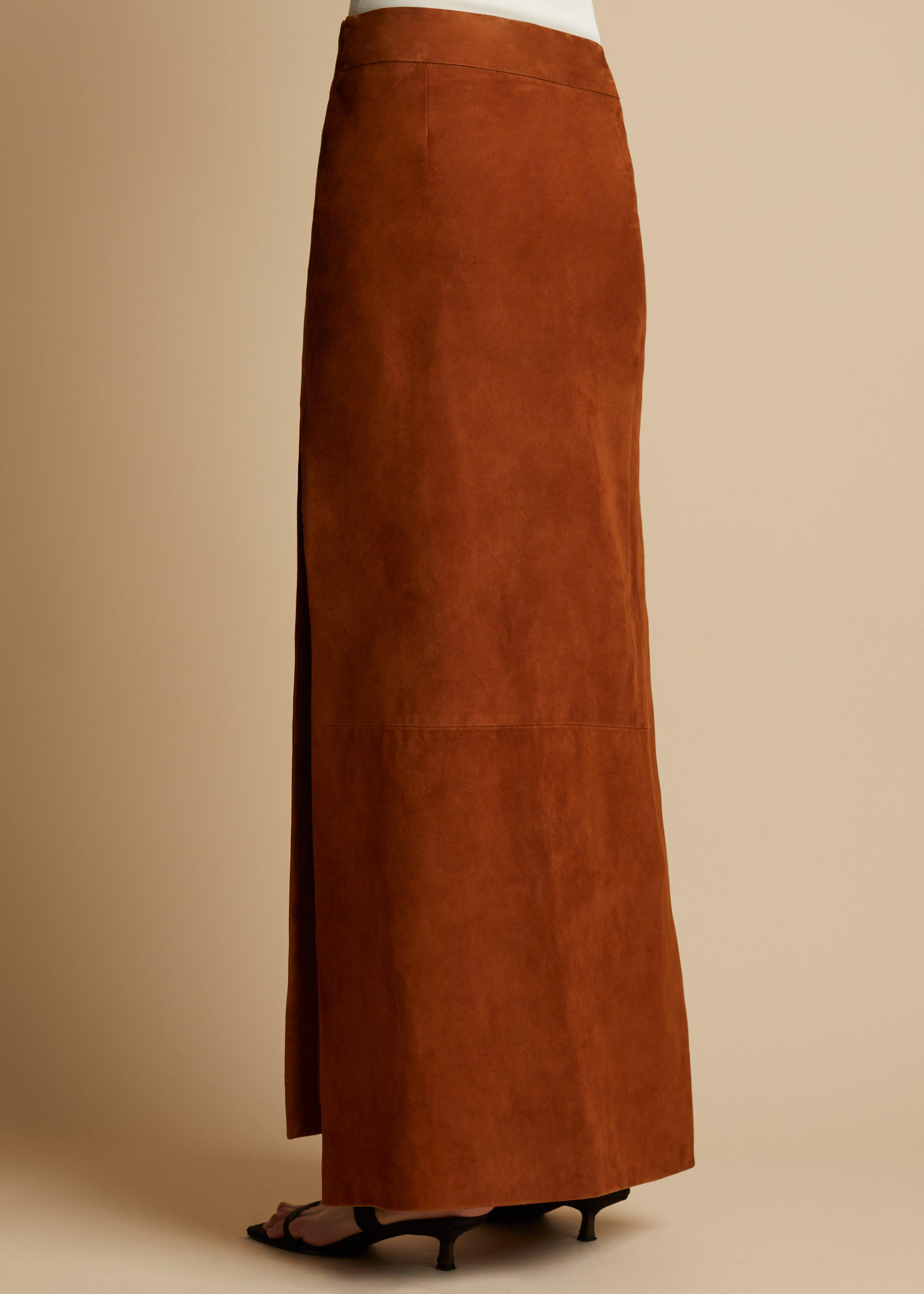 The Myla Skirt in Chestnut Suede 3