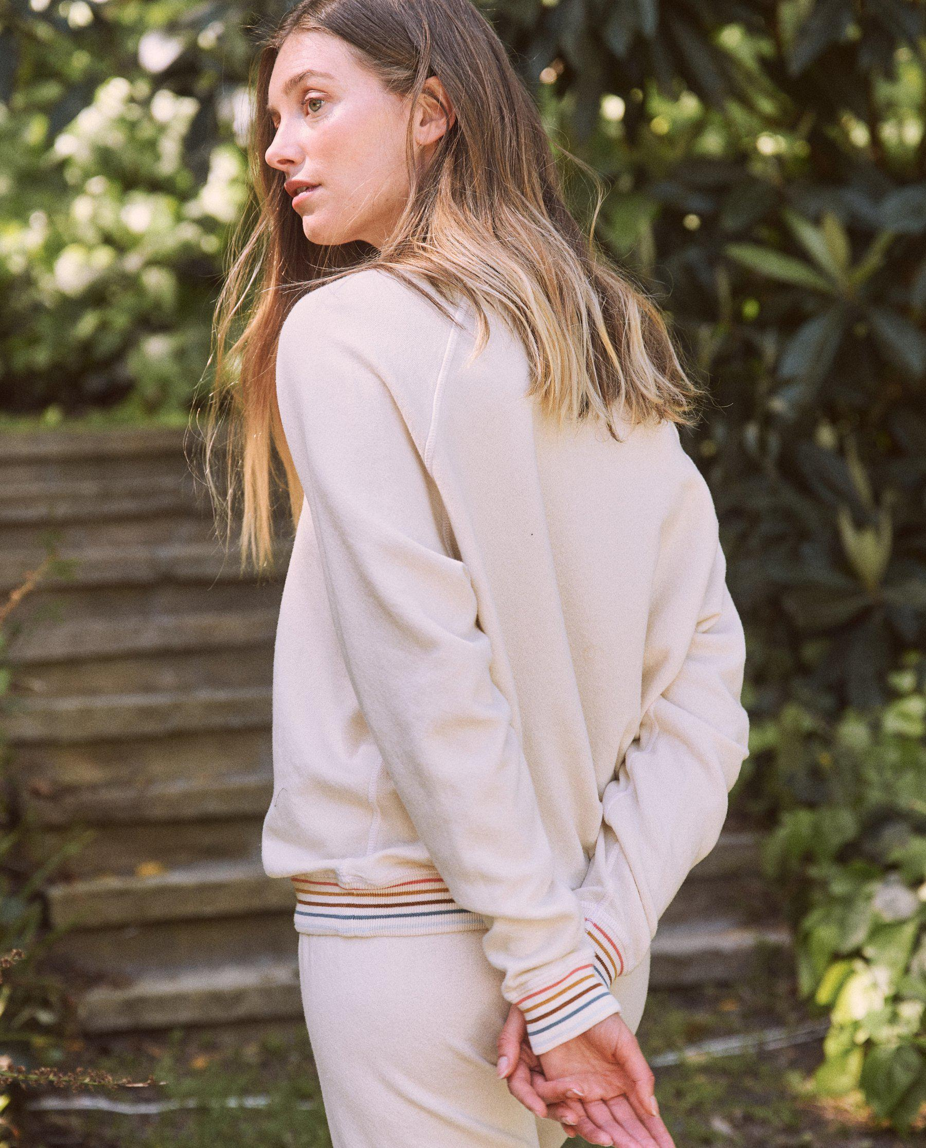 The College Sweatshirt. Novelty -- Washed White with Striped Rib 3