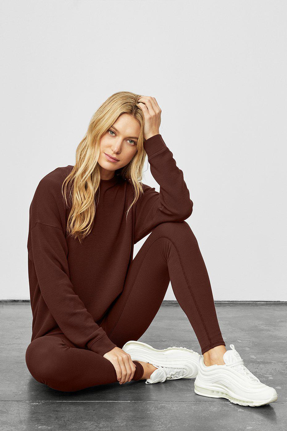 Micro Waffle Relaxation Pullover - Cherry Cola 7