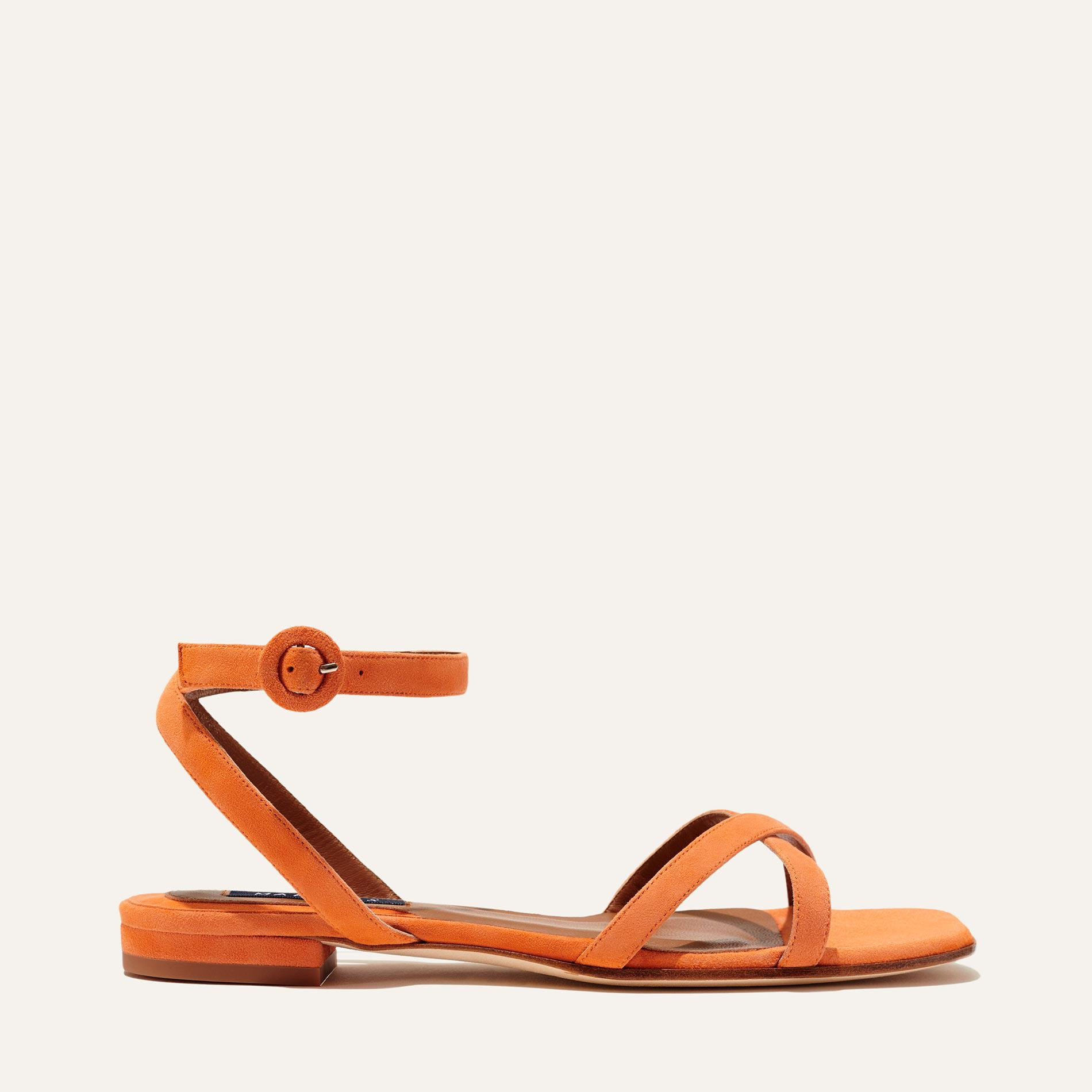 The Flat Sandal - Apricot Suede