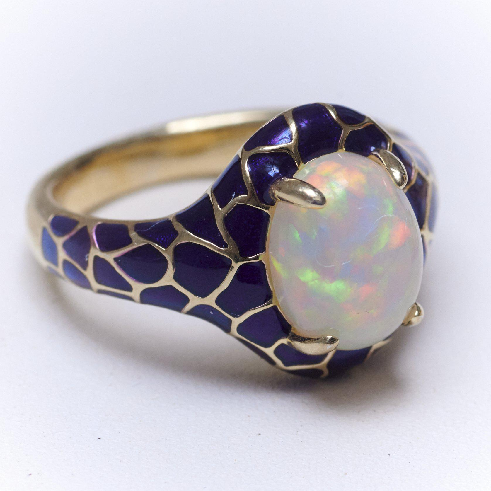 Opal Cabochon and Ceramic Ring