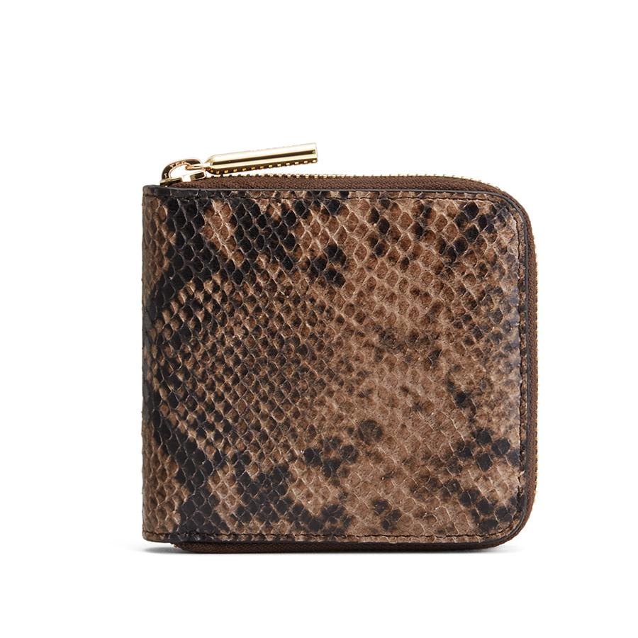 Women's Small Classic Zip Around Wallet in Brown Snake | Snake-Embossed by Cuyana