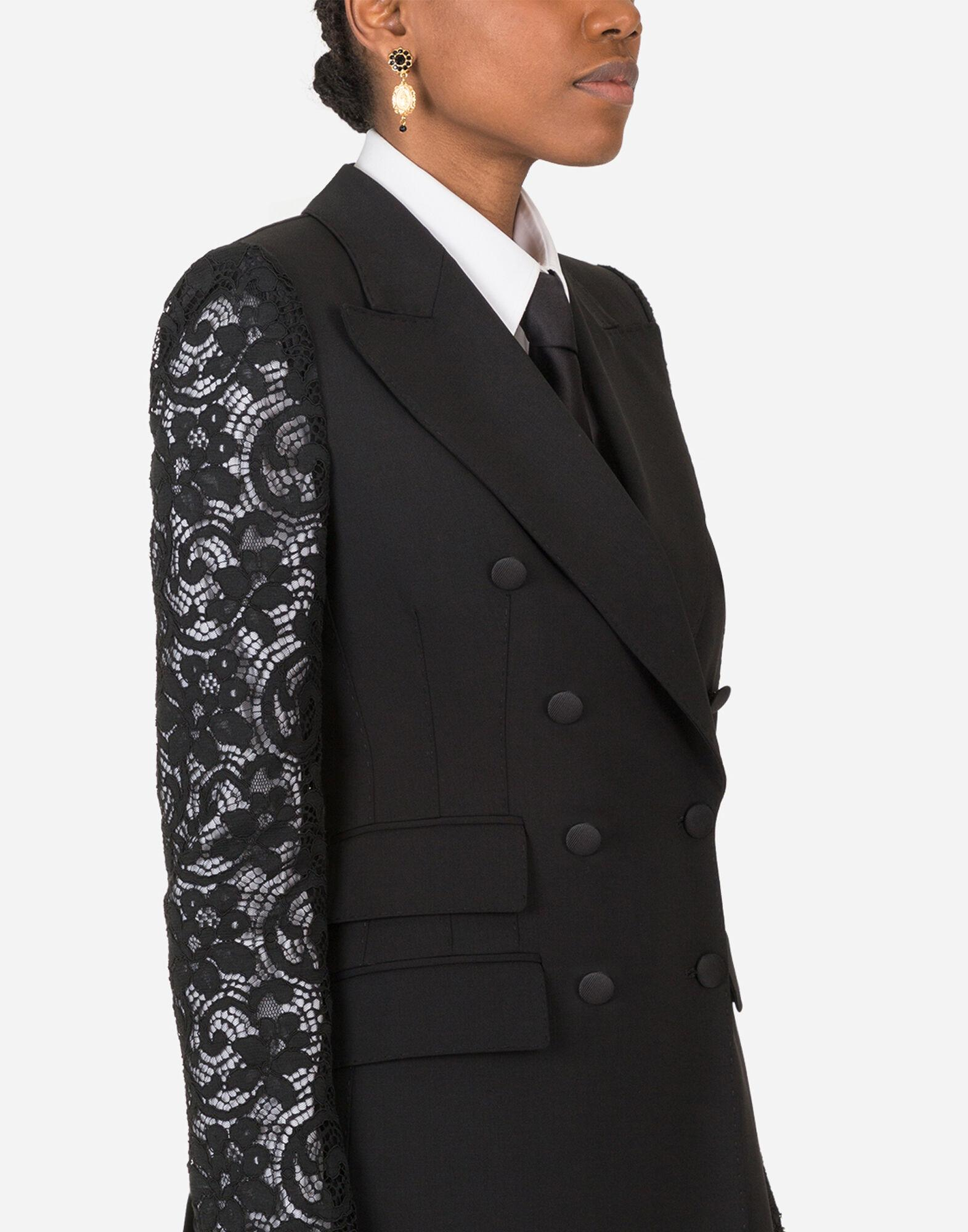 Double-breasted woolen blazer with lace sleeves 2