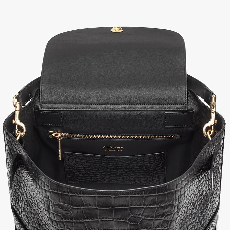 Women's Leather Backpack in Textured Black | Croc-Embossed by Cuyana 2