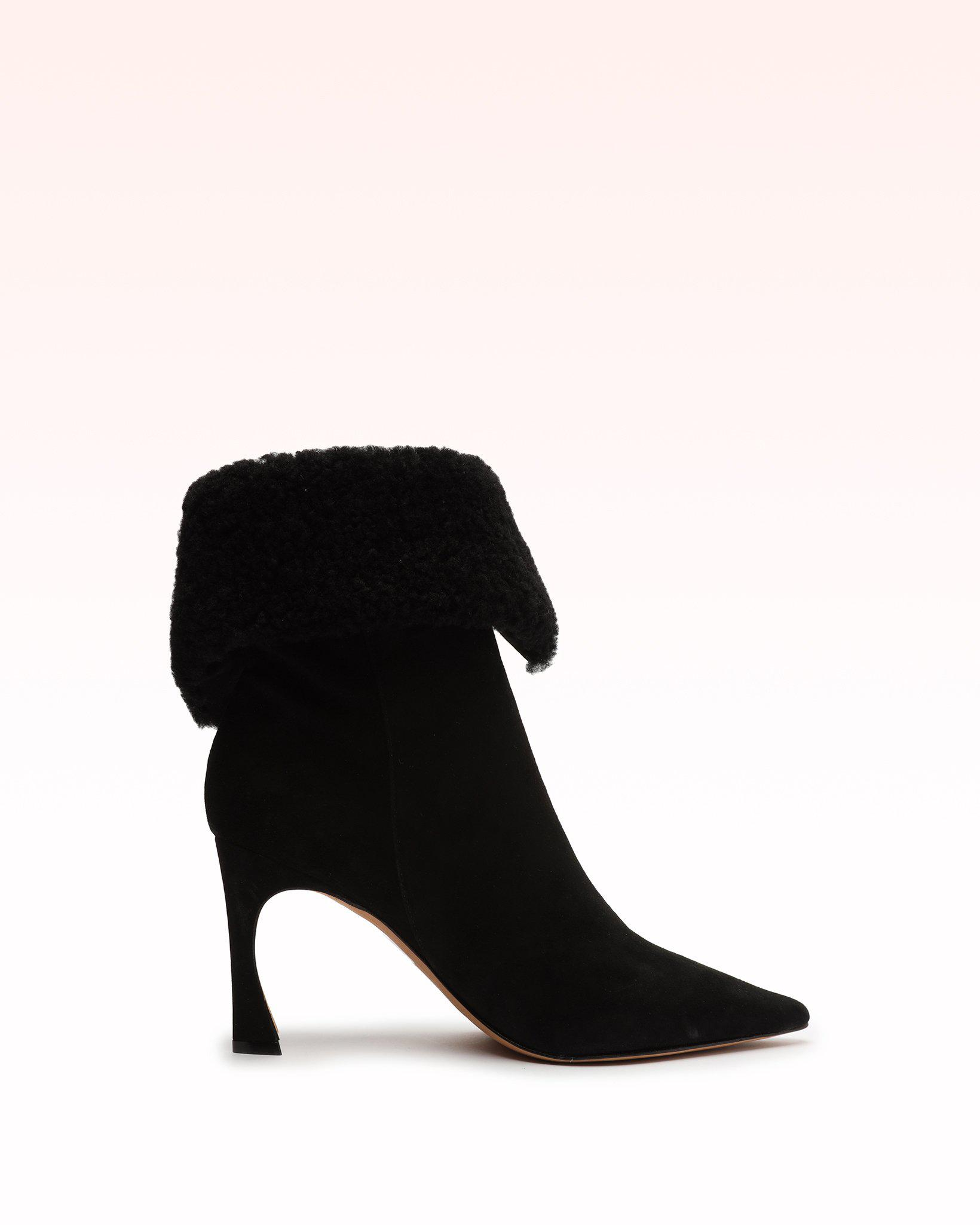 Mirabella 85 Curly Shearling & Suede Bootie