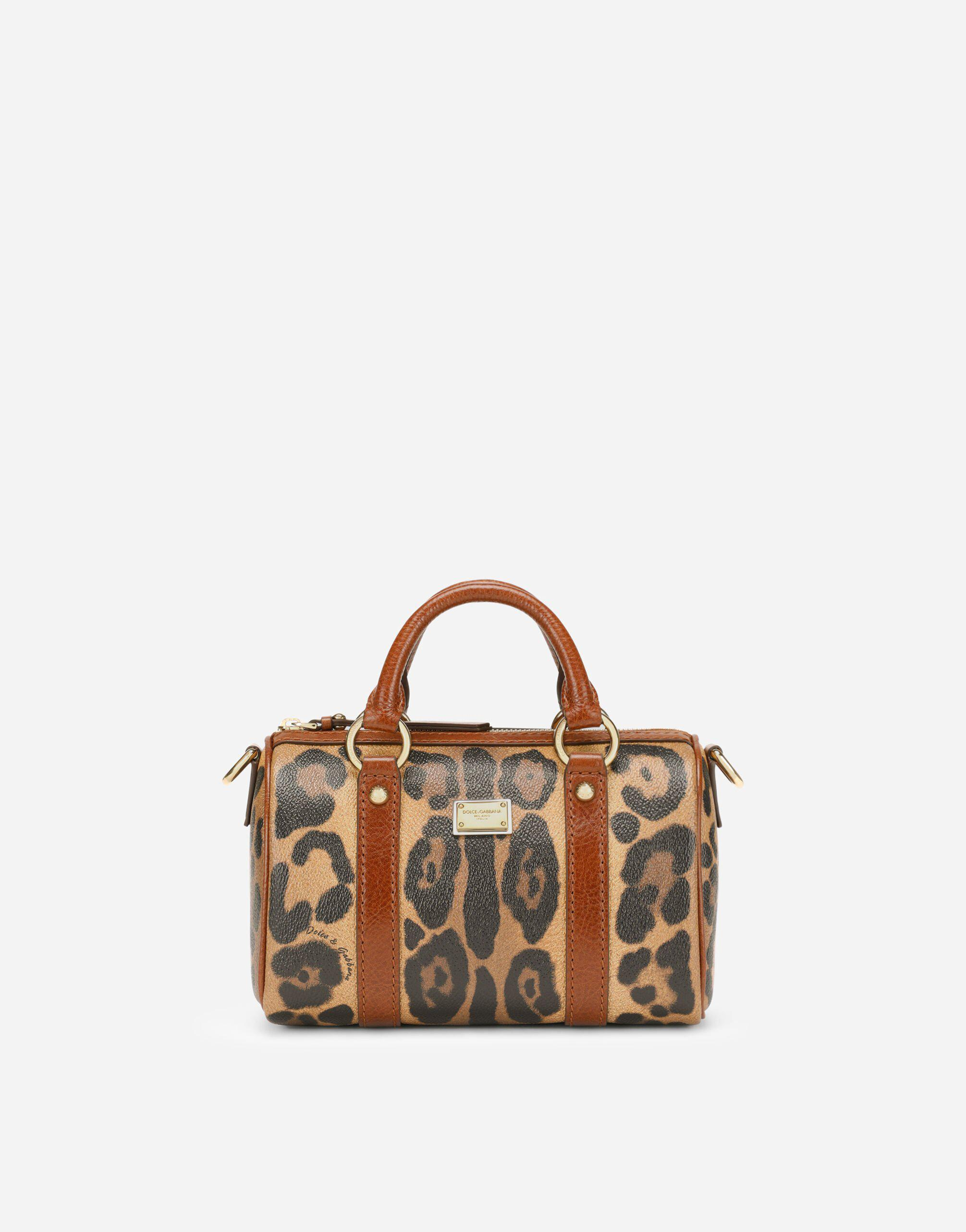 Small box satchel in leopard-print Crespo with branded plate