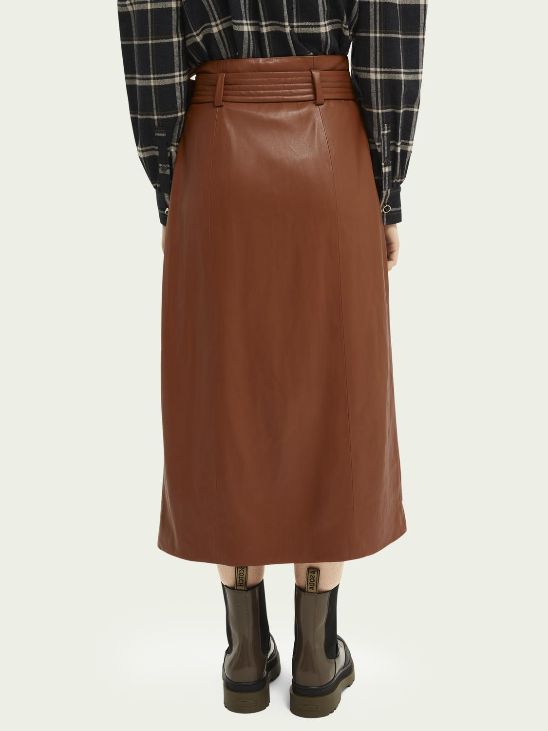 Wrap-over faux leather skirt 4