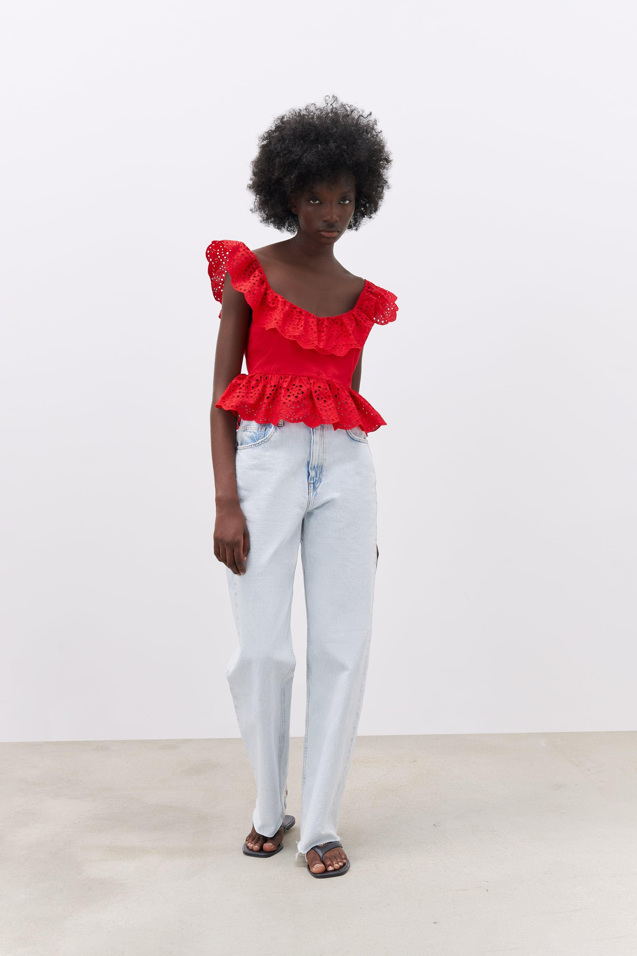 OPENWORK EMBROIDERED TOP