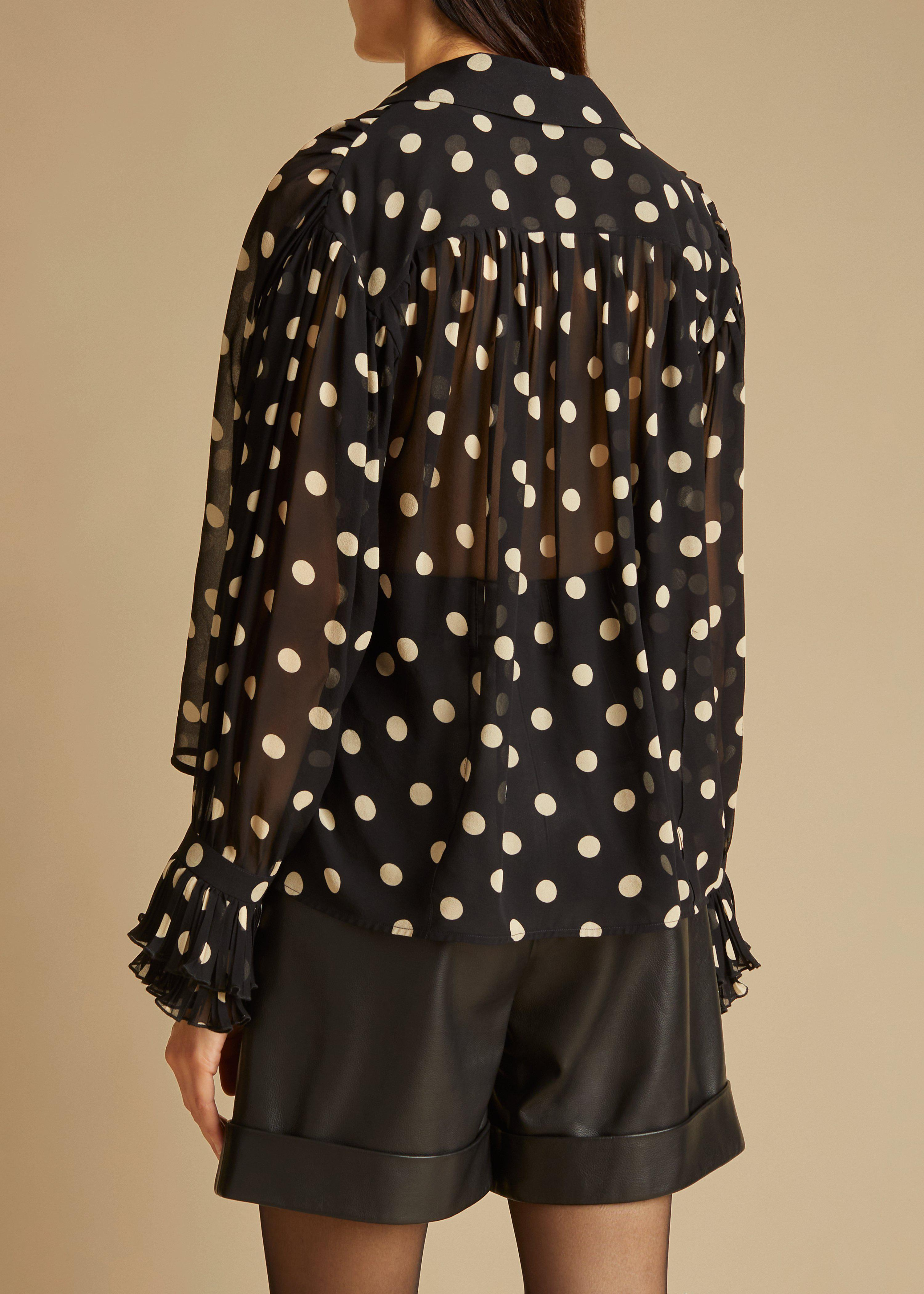 The Vanina Top in Black and Creme Dot 4