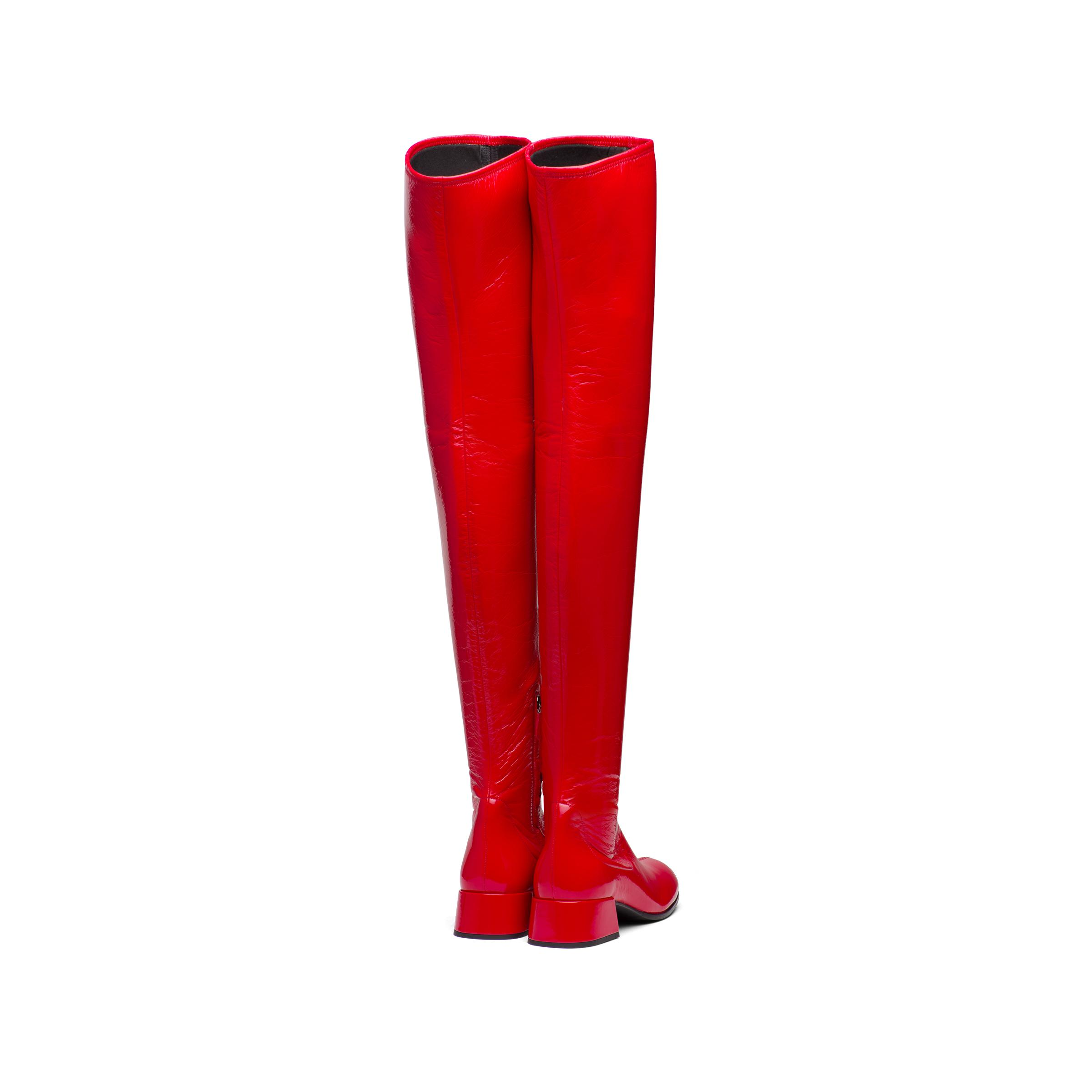 Technical Patent Leather Boots Women Red 3