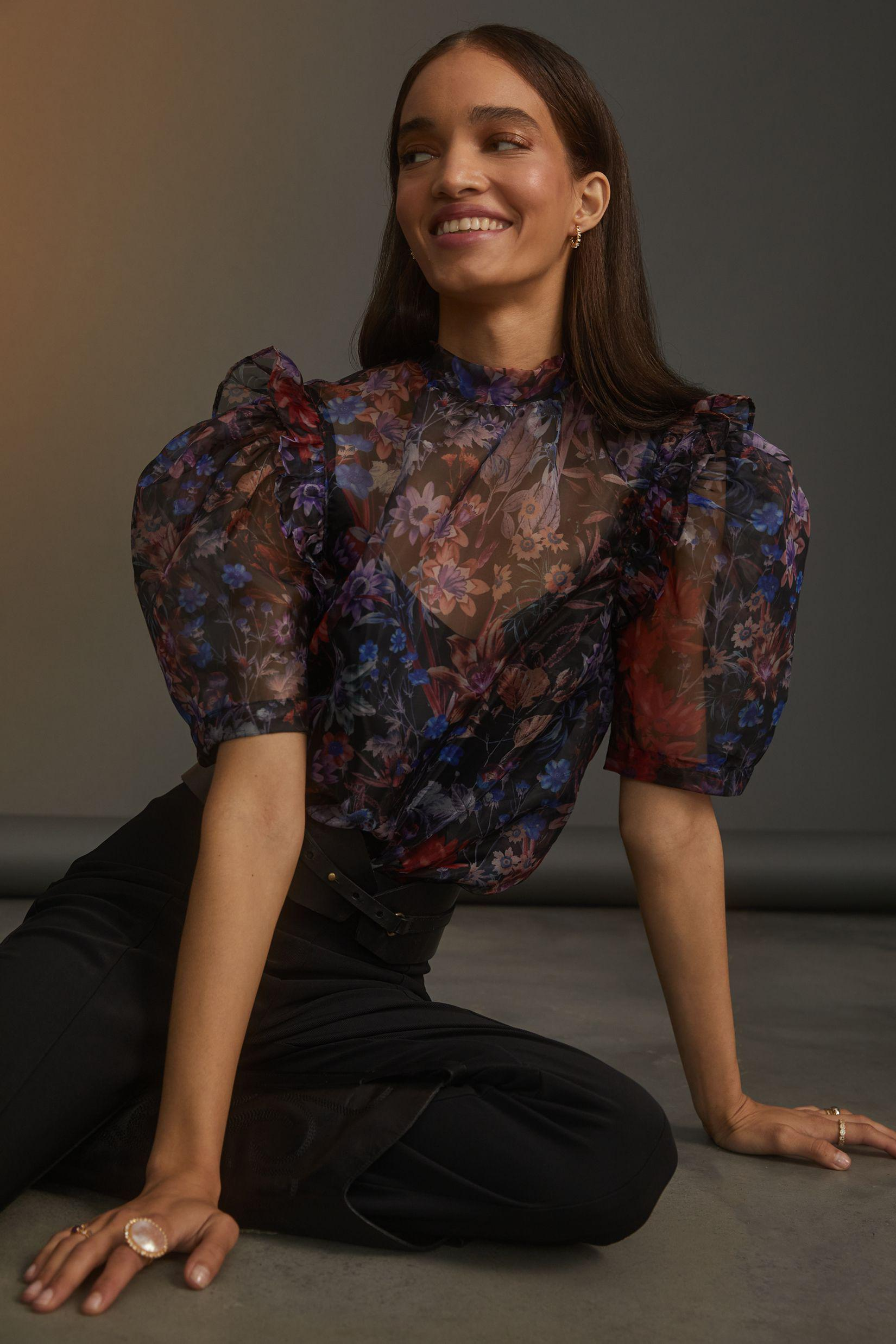 Maeve Puff-Sleeved Organza Blouse