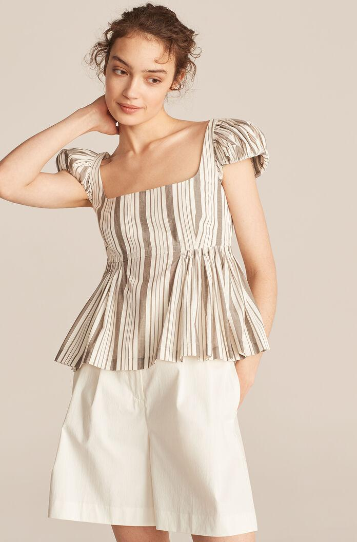 CORDED STRIPE PUFF SLEEVE EMPIRE BLOUSE