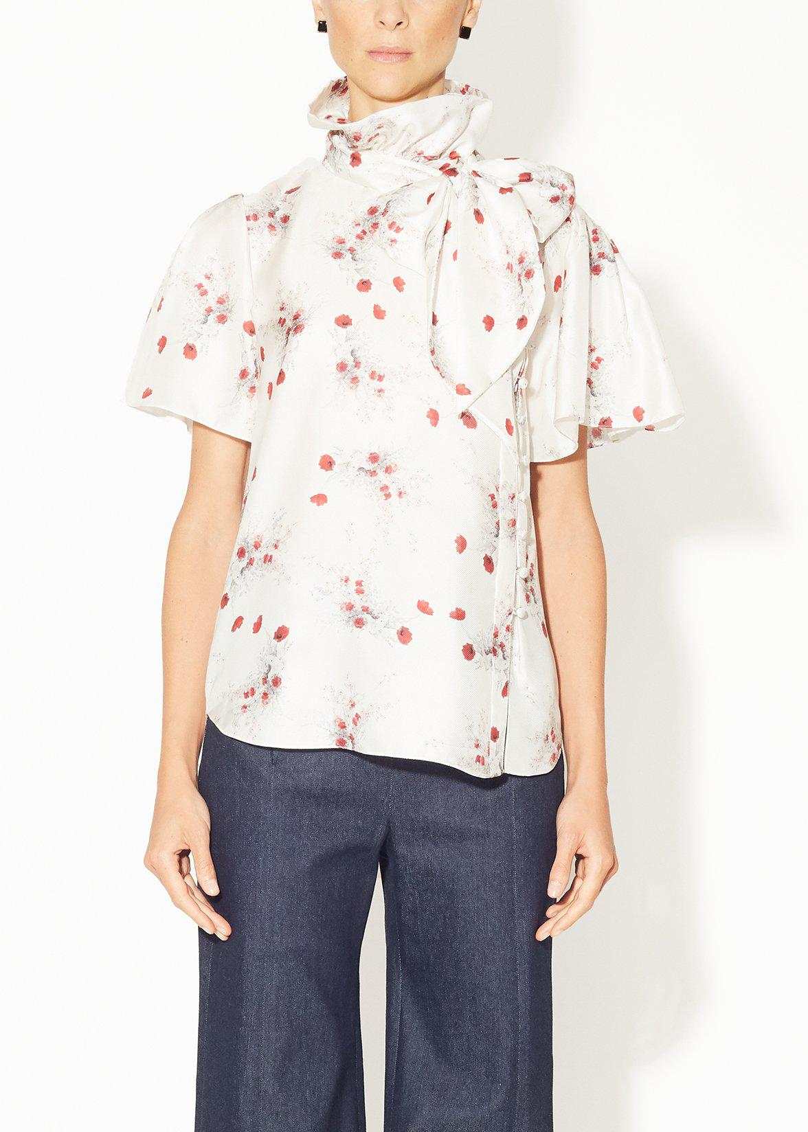 BOW NECK BLOUSE IN PRINTED SILK TWILL