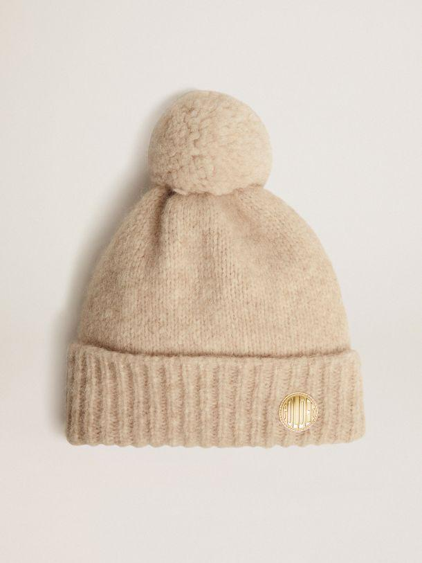 Beige wool Journey Collection Didi beret with pompom